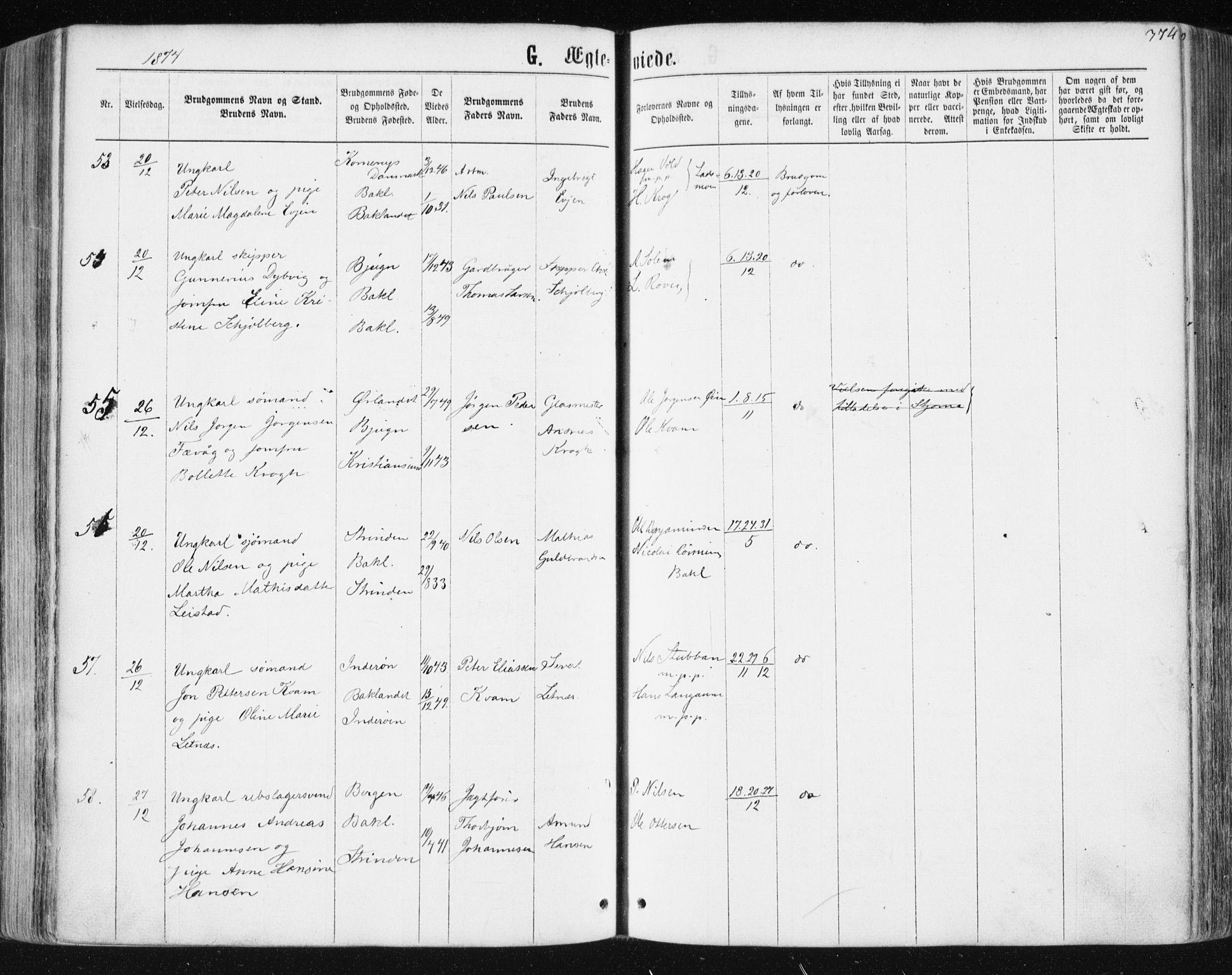 SAT, Ministerialprotokoller, klokkerbøker og fødselsregistre - Sør-Trøndelag, 604/L0186: Parish register (official) no. 604A07, 1866-1877, p. 374
