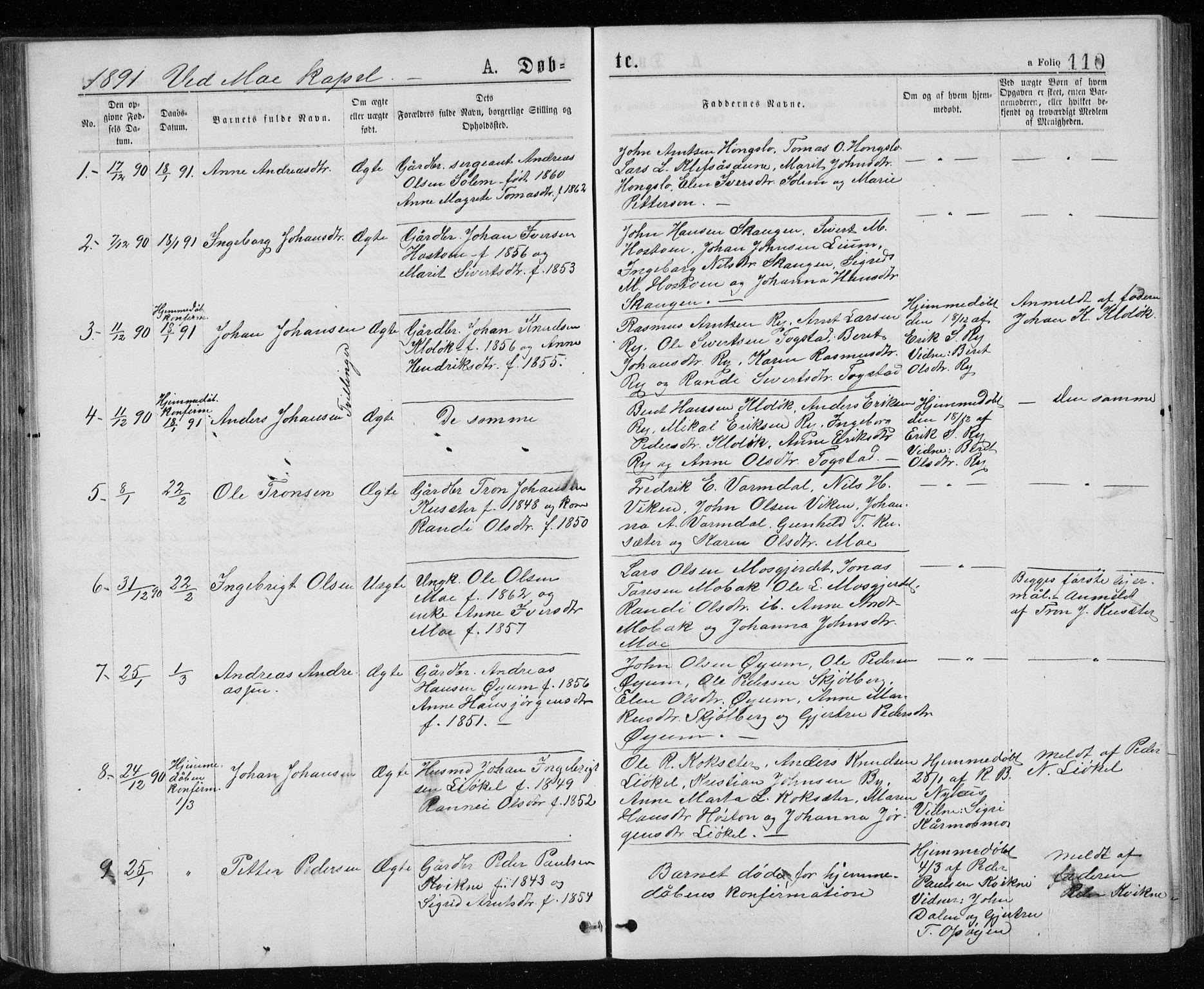 SAT, Ministerialprotokoller, klokkerbøker og fødselsregistre - Sør-Trøndelag, 671/L0843: Parish register (copy) no. 671C02, 1873-1892, p. 110