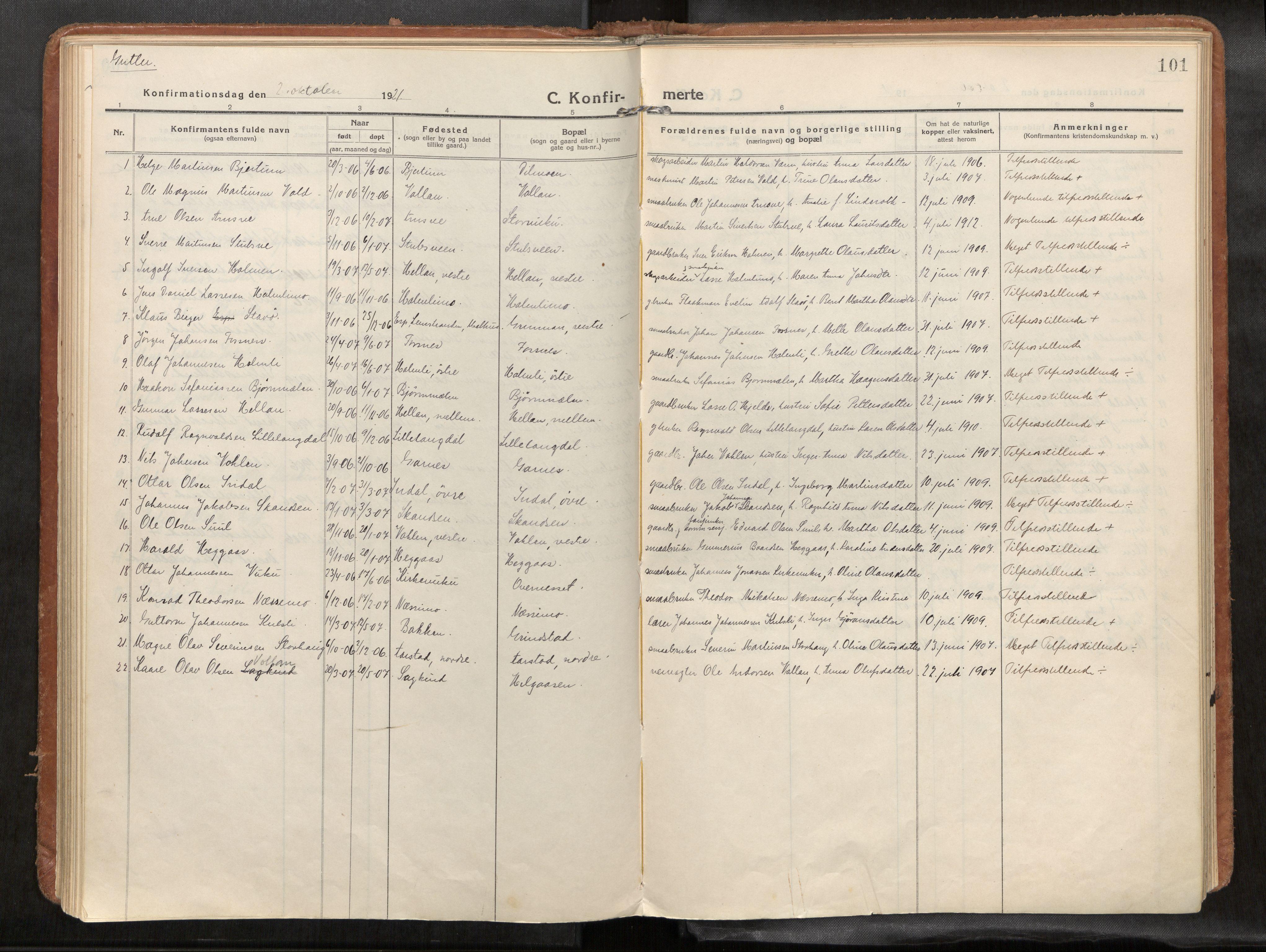 SAT, Verdal sokneprestkontor*, Parish register (official) no. 1, 1916-1928, p. 101