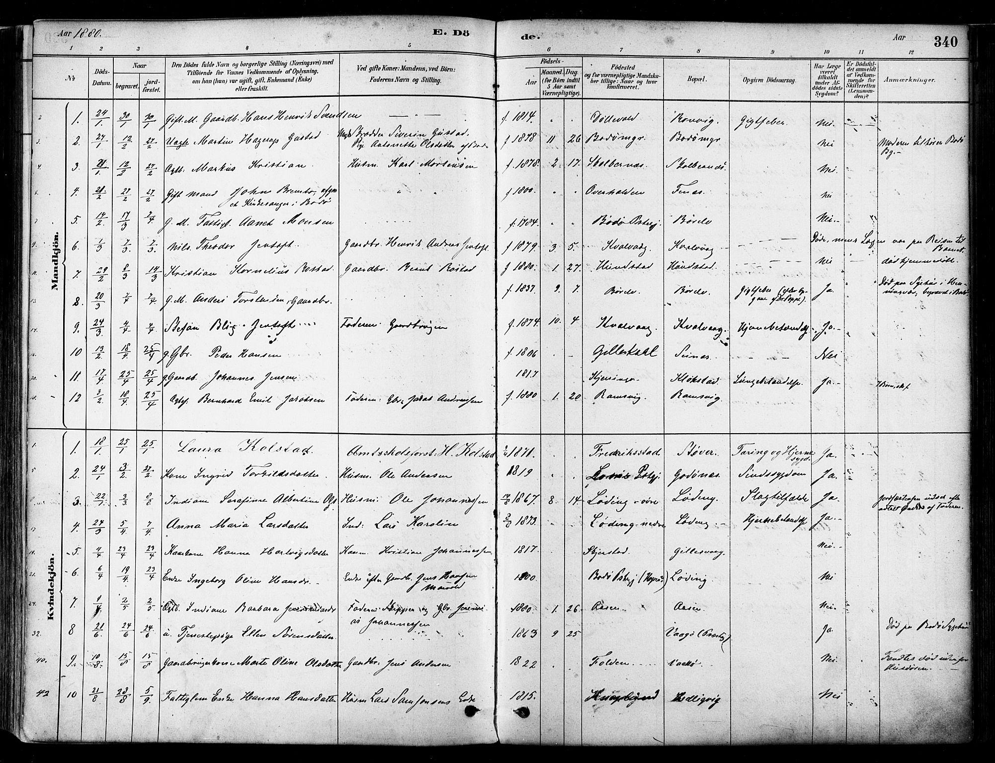 SAT, Ministerialprotokoller, klokkerbøker og fødselsregistre - Nordland, 802/L0054: Parish register (official) no. 802A01, 1879-1893, p. 340