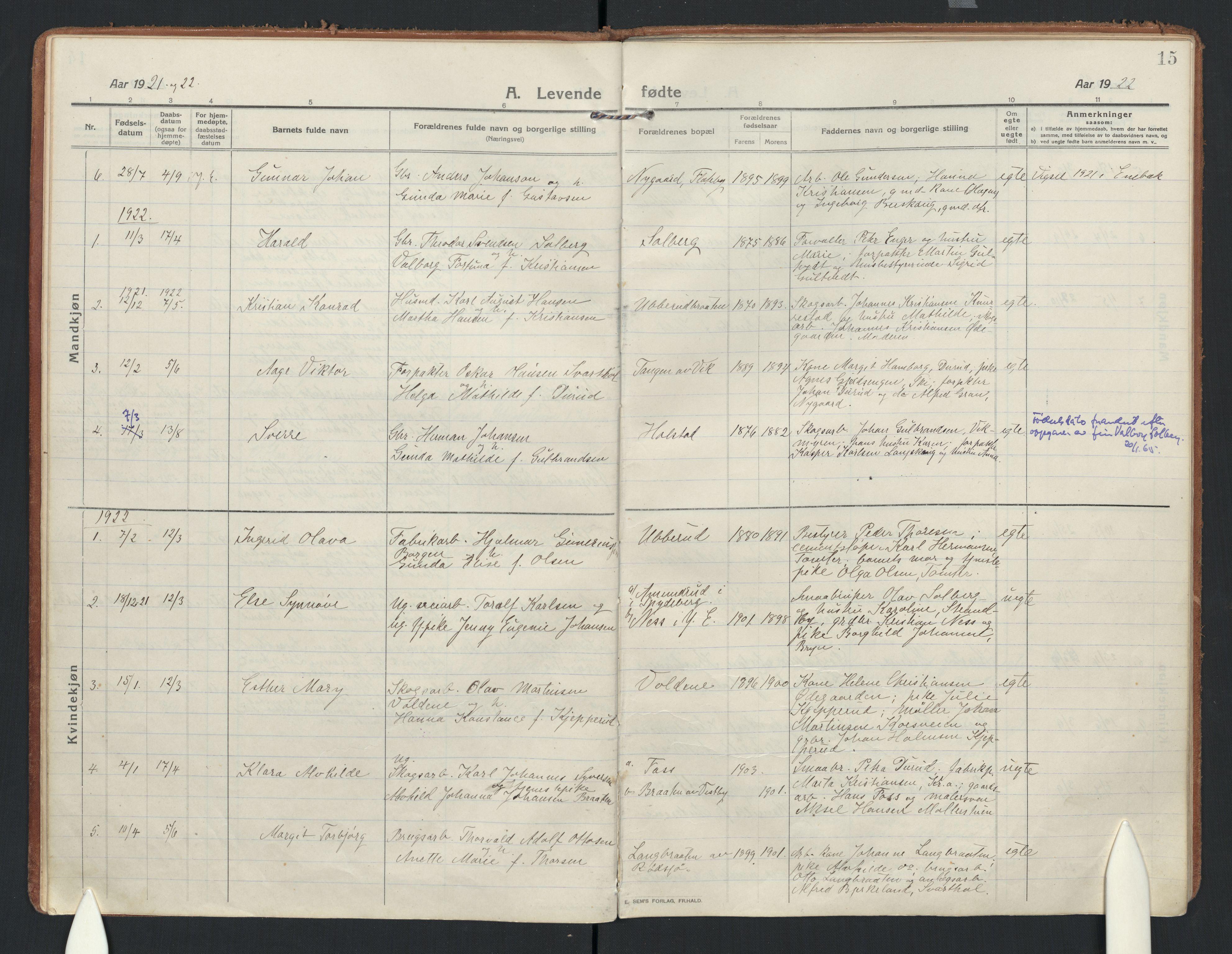 SAO, Enebakk prestekontor Kirkebøker, F/Fb/L0003: Parish register (official) no. II 3, 1912-1946, p. 15