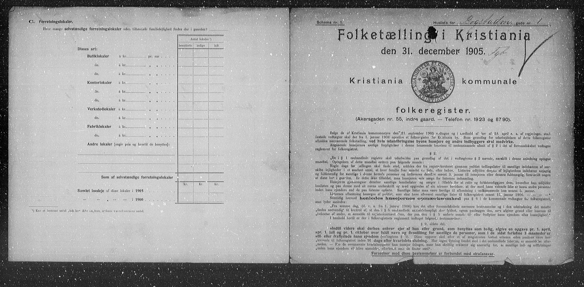 OBA, Municipal Census 1905 for Kristiania, 1905, p. 3431
