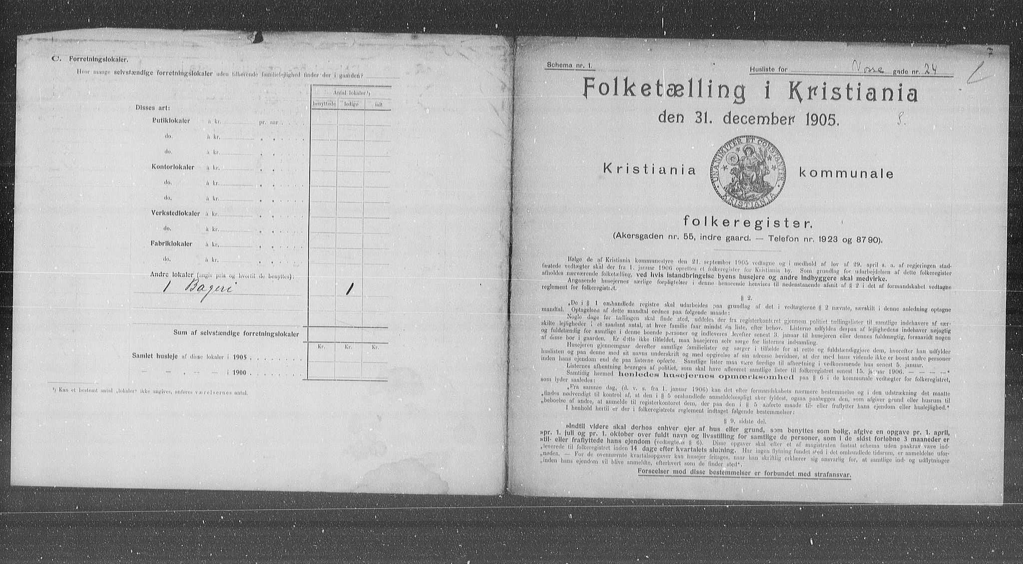 OBA, Municipal Census 1905 for Kristiania, 1905, p. 66161