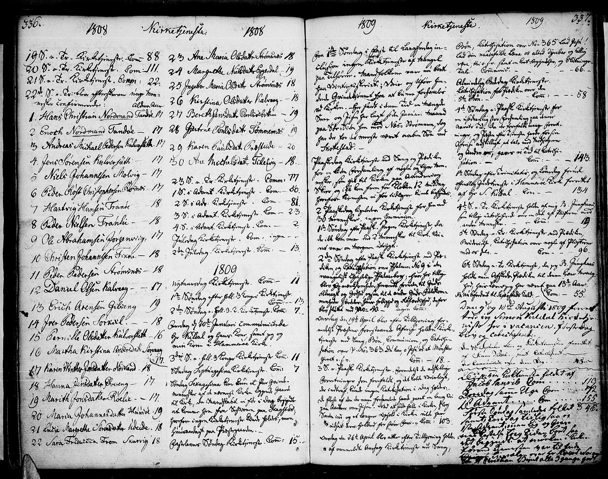 SAT, Ministerialprotokoller, klokkerbøker og fødselsregistre - Nordland, 859/L0841: Parish register (official) no. 859A01, 1766-1821, p. 336-337