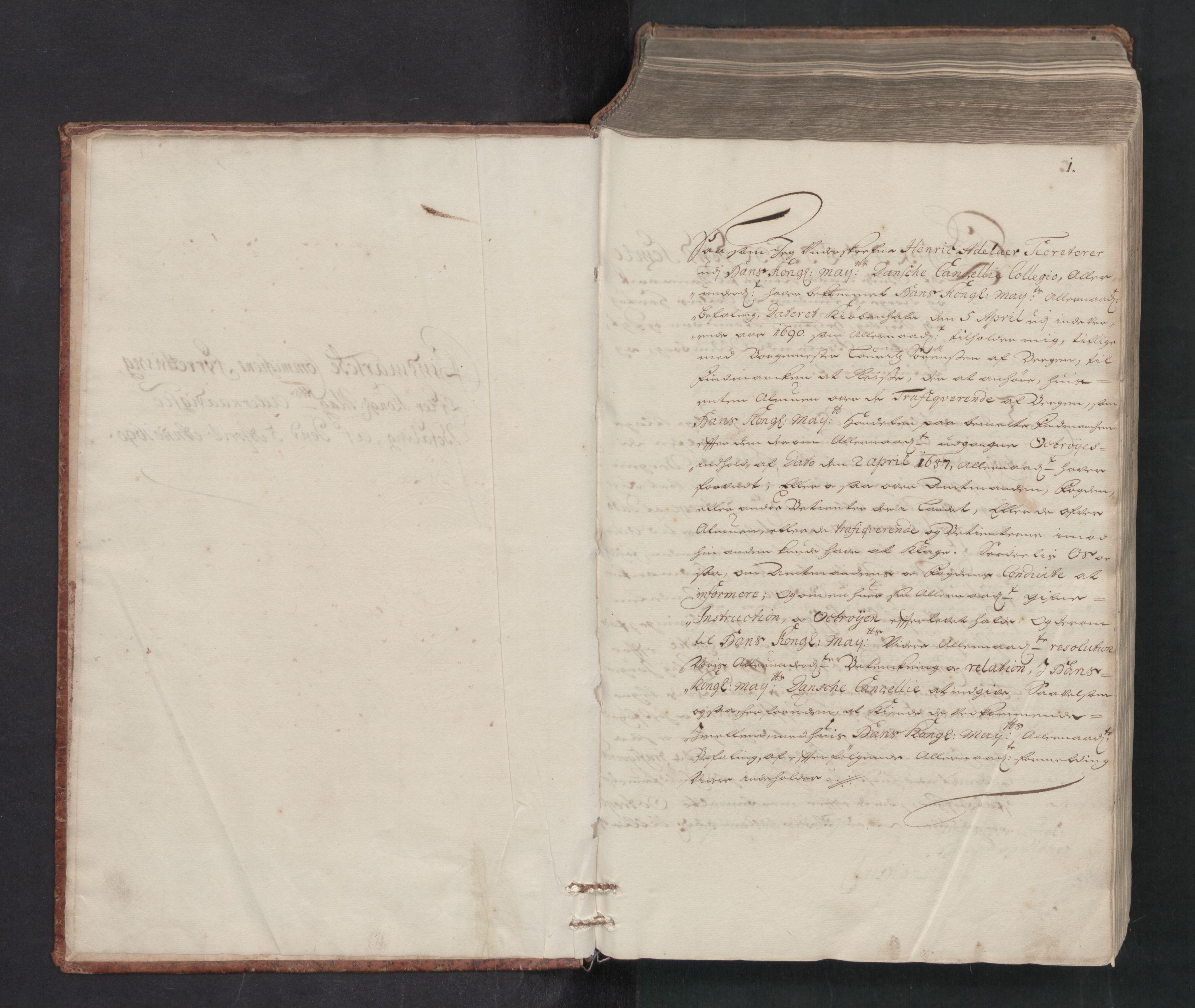 RA, Danske Kanselli, Skapsaker, F/L0081: Skap 15, pakke 125D, 1690-1691, p. 1