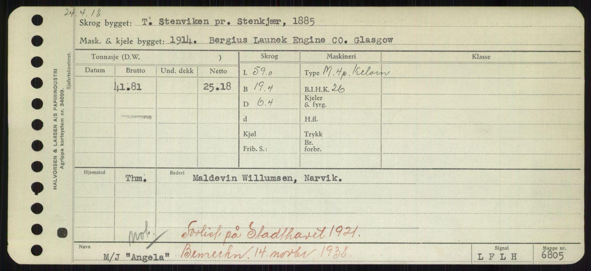RA, Sjøfartsdirektoratet med forløpere, Skipsmålingen, H/Hd/L0001: Fartøy, A-Anv, p. 611