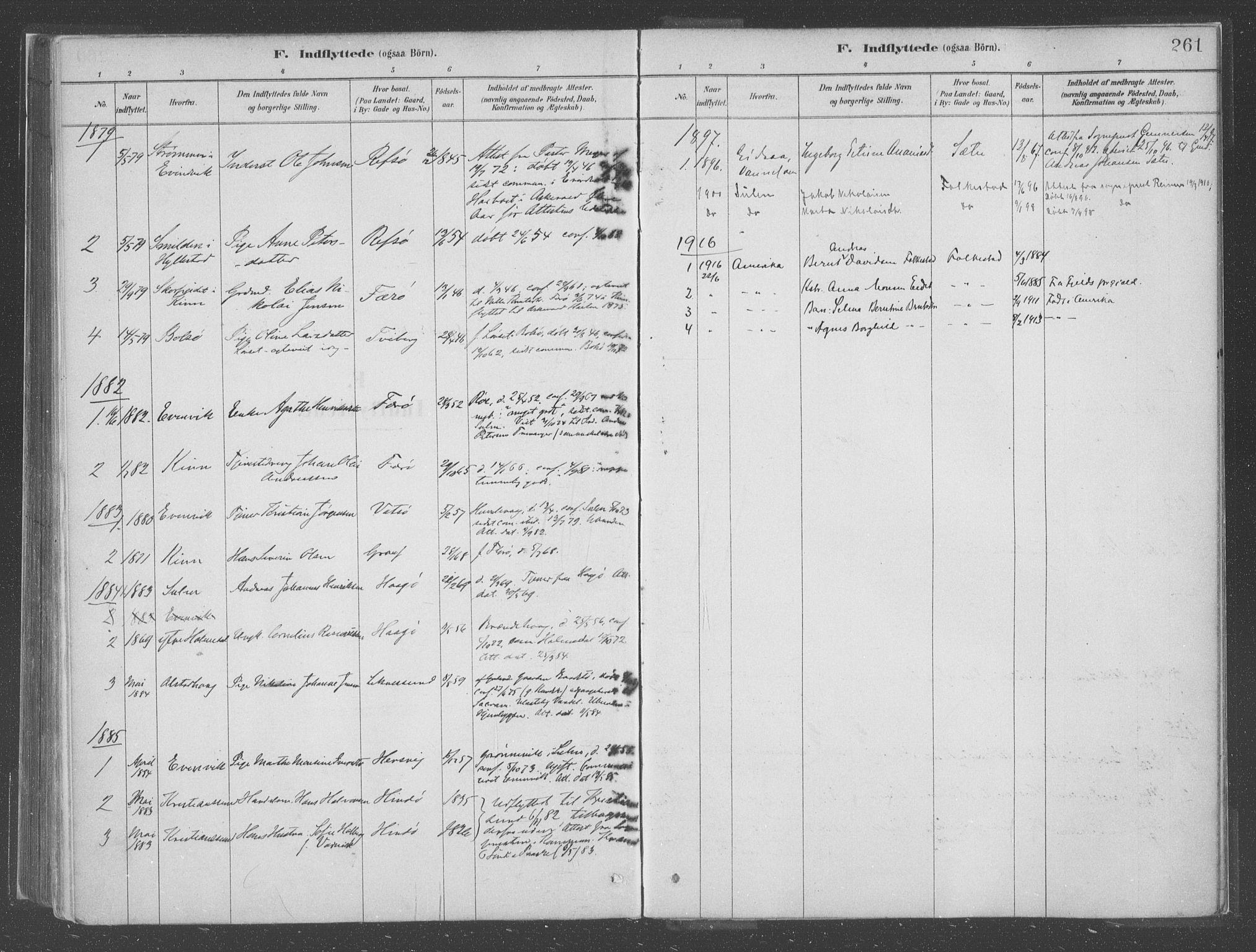 SAB, Askvoll Sokneprestembete, Parish register (official) no. C  1, 1879-1922, p. 261