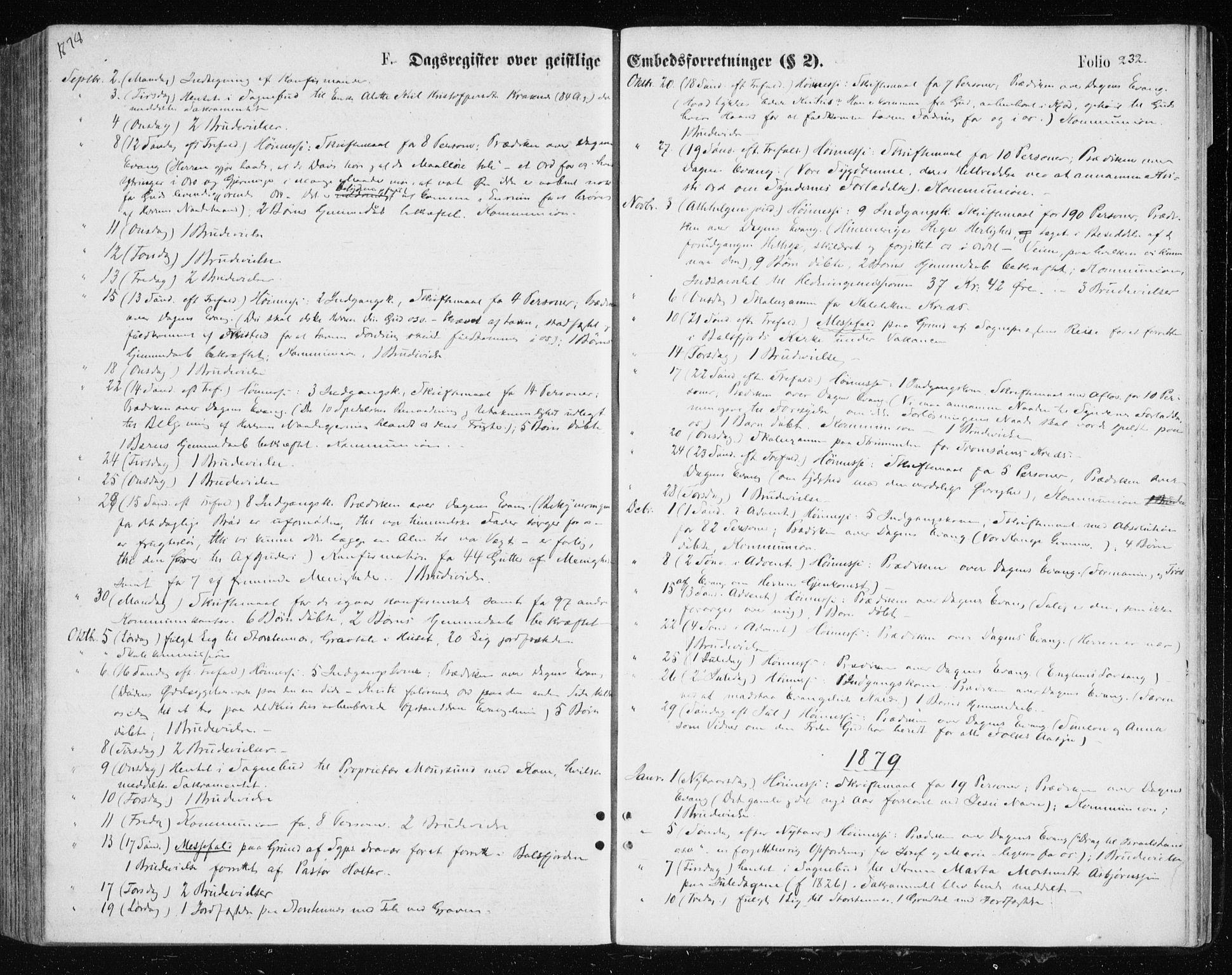 SATØ, Tromsøysund sokneprestkontor, G/Ga/L0003kirke: Parish register (official) no. 3, 1875-1880, p. 232