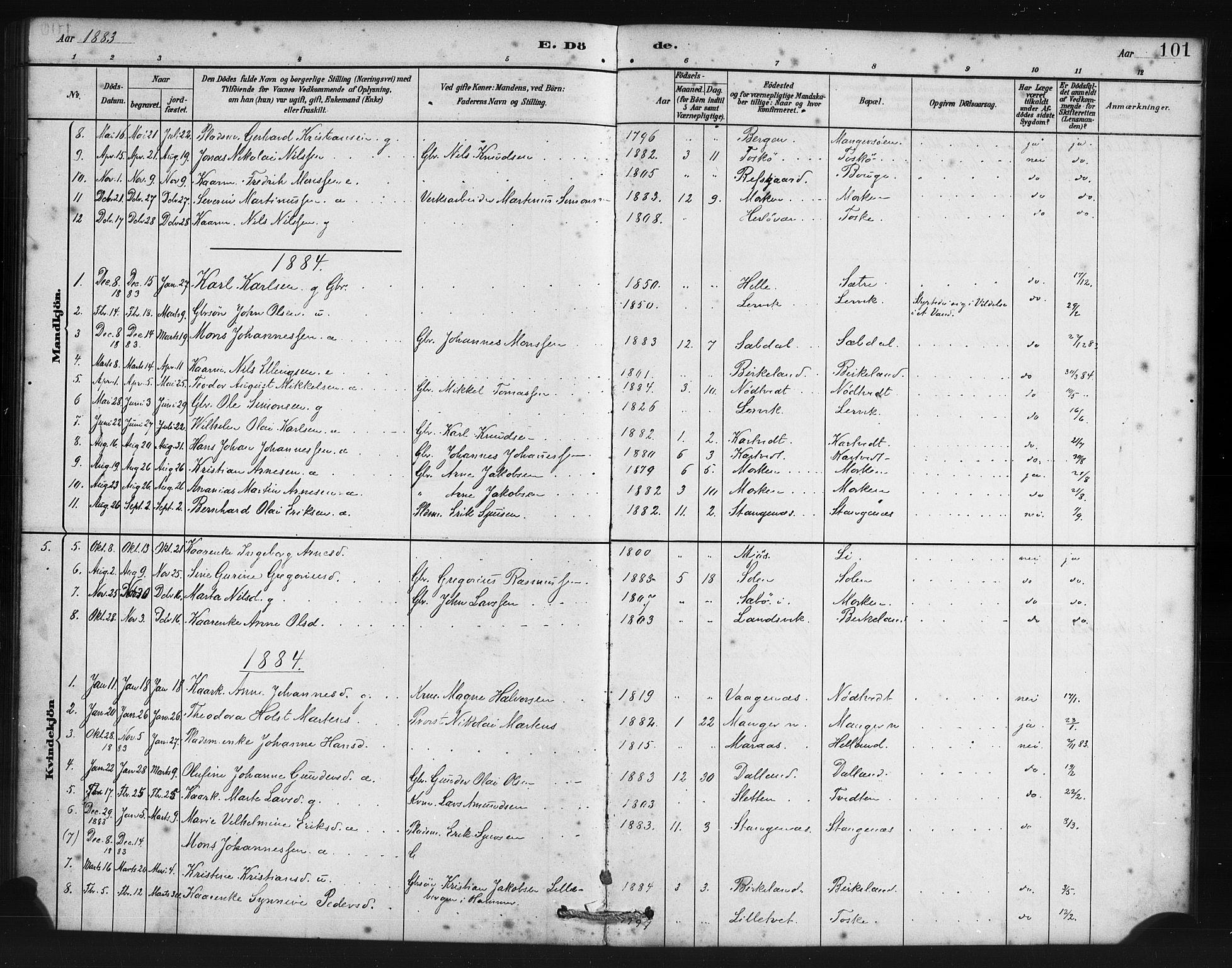 SAB, Manger sokneprestembete, H/Haa: Parish register (official) no. B 1, 1881-1892, p. 101