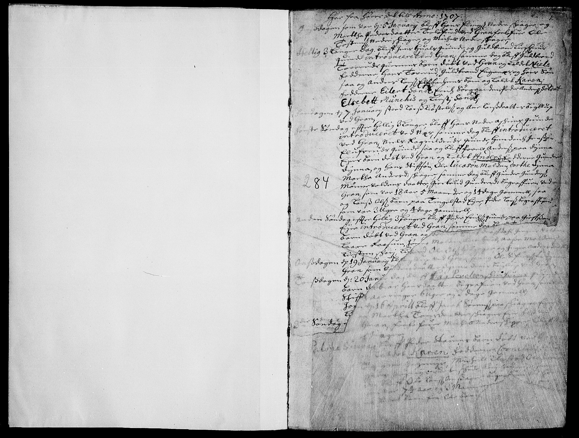 SAH, Gran prestekontor, Parish register (official) no. 1, 1707-1731, p. 1