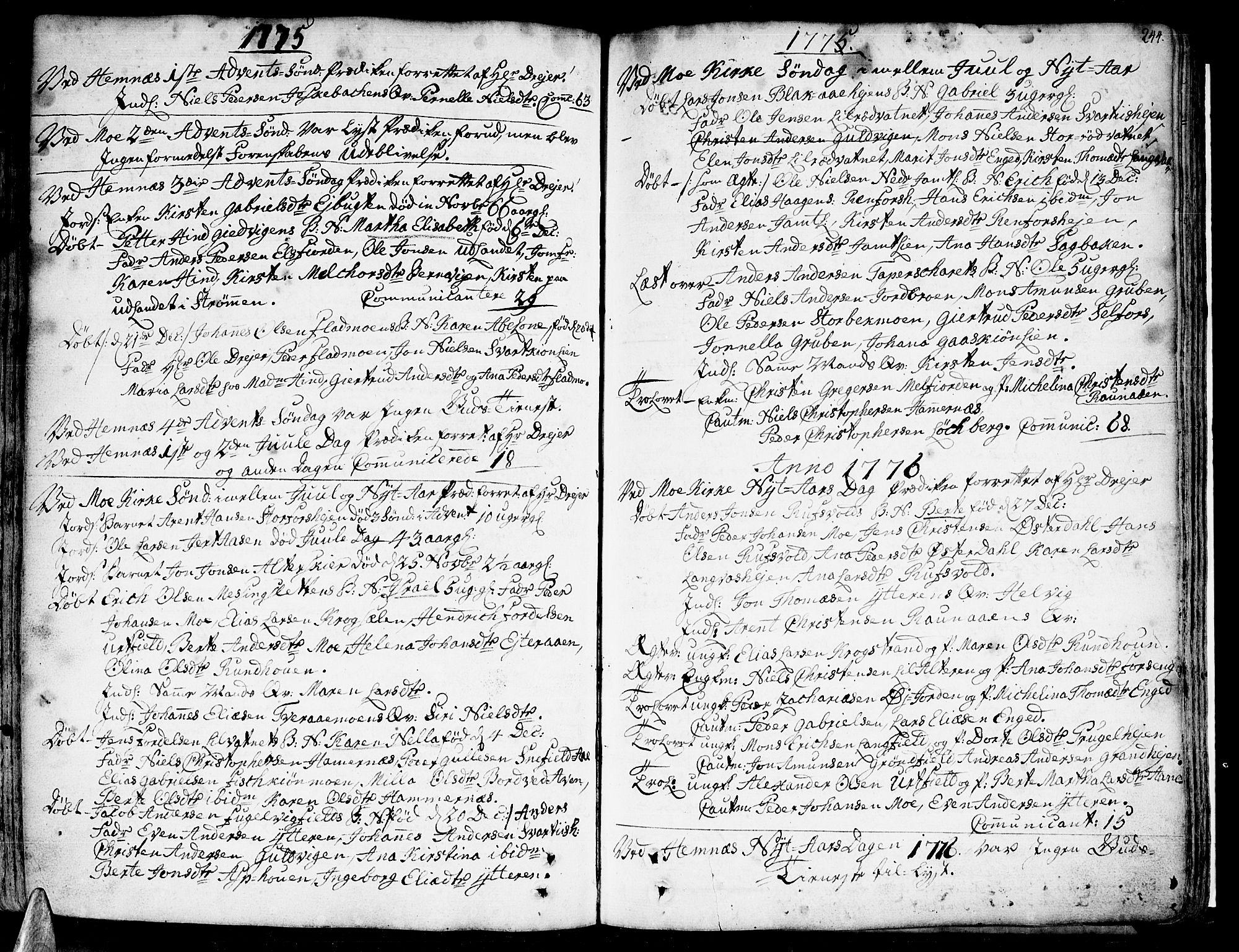 SAT, Ministerialprotokoller, klokkerbøker og fødselsregistre - Nordland, 825/L0348: Parish register (official) no. 825A04, 1752-1788, p. 244