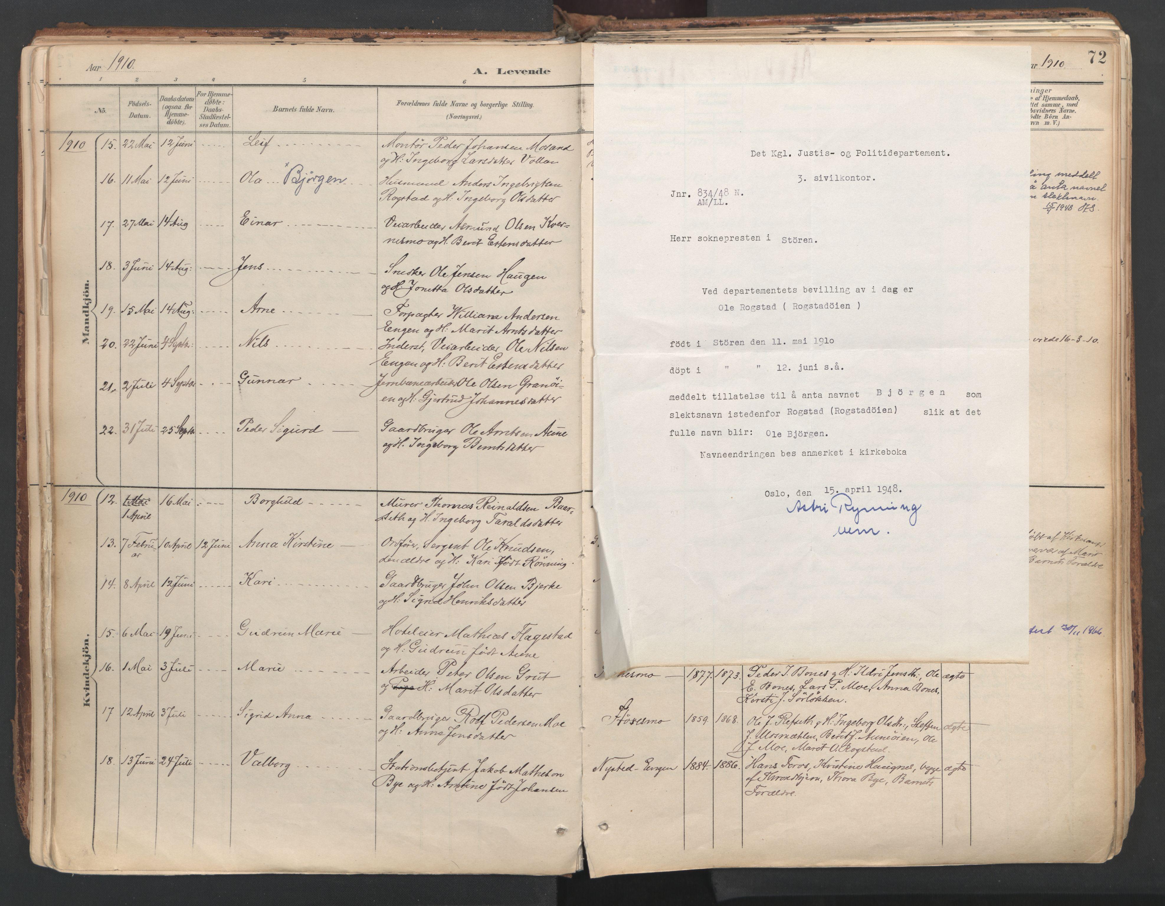 SAT, Ministerialprotokoller, klokkerbøker og fødselsregistre - Sør-Trøndelag, 687/L1004: Parish register (official) no. 687A10, 1891-1923