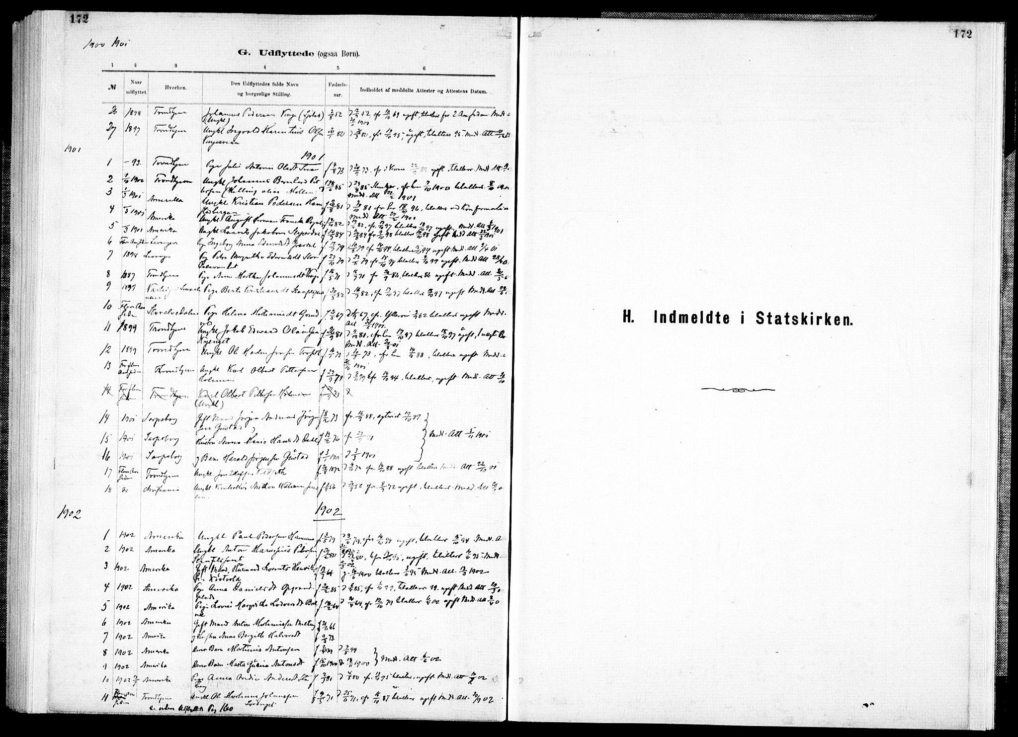 SAT, Ministerialprotokoller, klokkerbøker og fødselsregistre - Nord-Trøndelag, 733/L0325: Parish register (official) no. 733A04, 1884-1908, p. 172