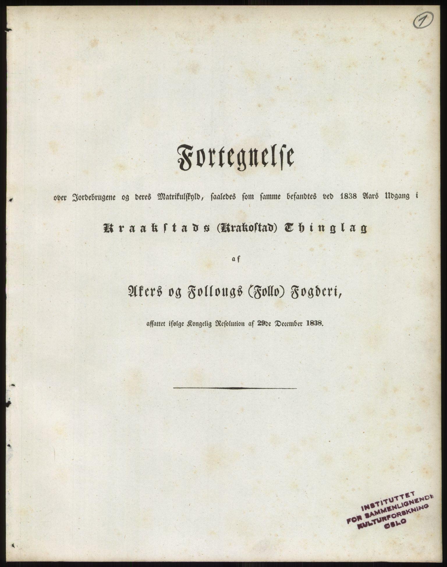 PUBL, Andre publikasjoner, -/Bind 2: Akershus amt, 1838, p. 2
