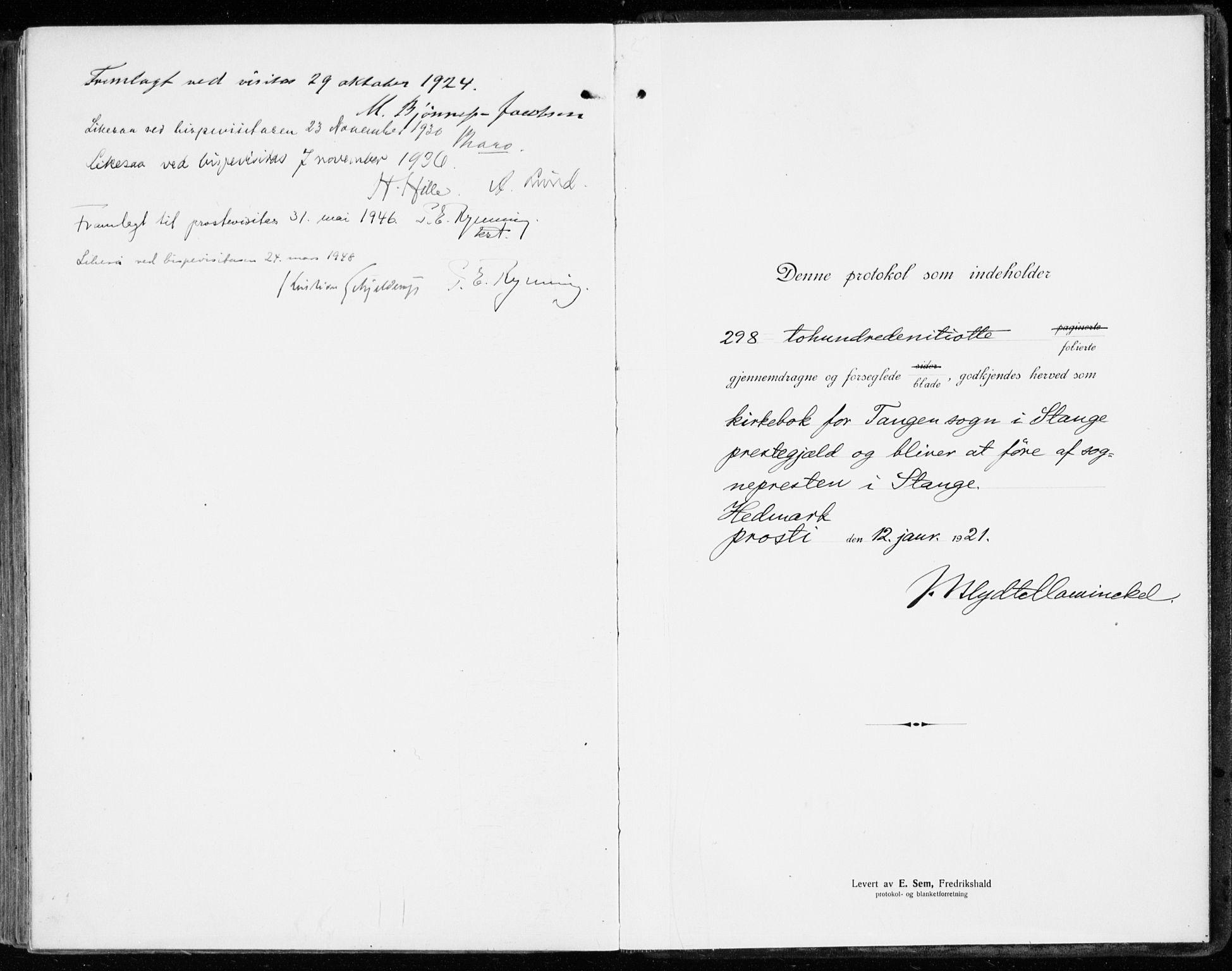 SAH, Stange prestekontor, K/L0025: Parish register (official) no. 25, 1921-1945