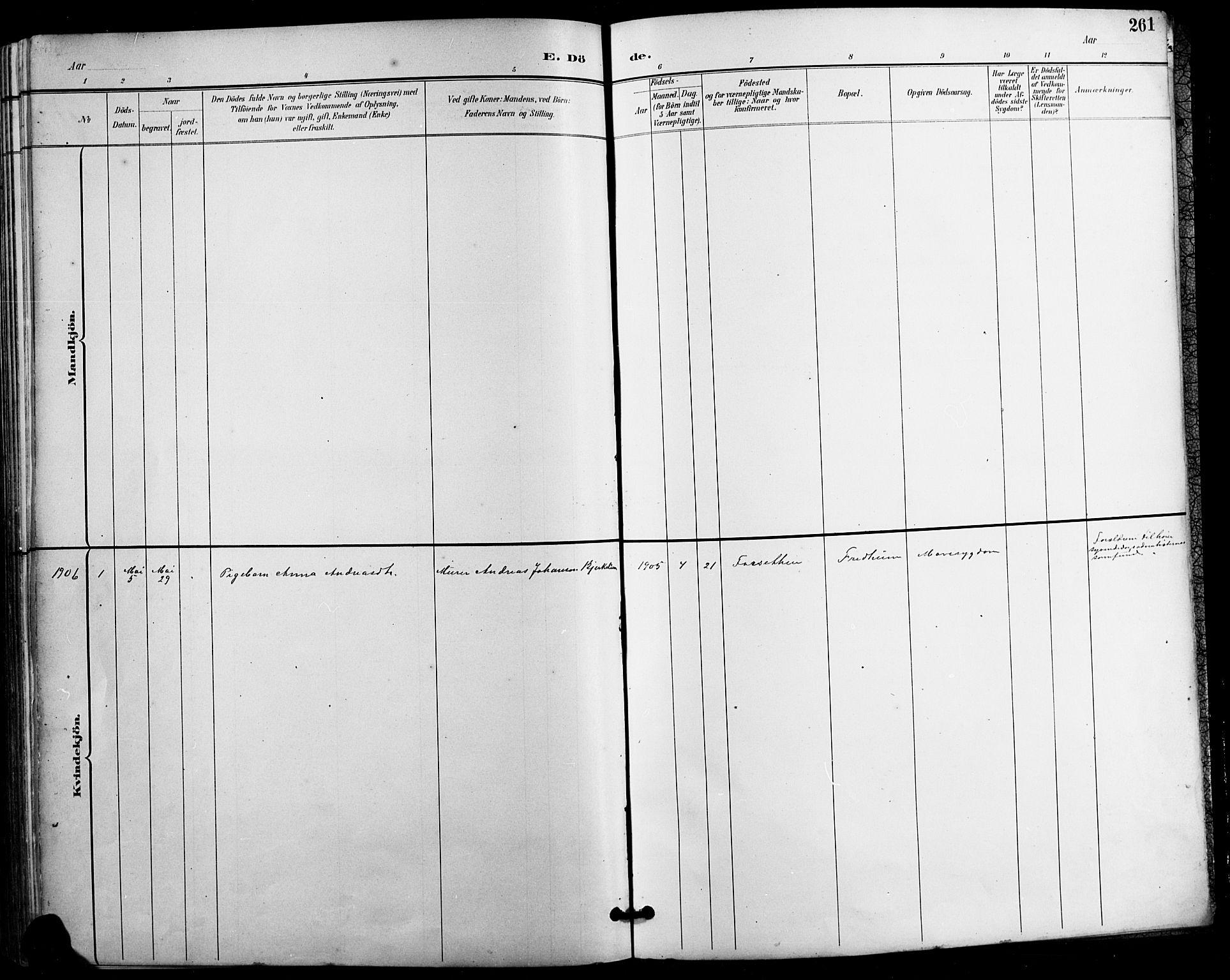 SAH, Vestre Gausdal prestekontor, Parish register (copy) no. 3, 1896-1925, p. 261