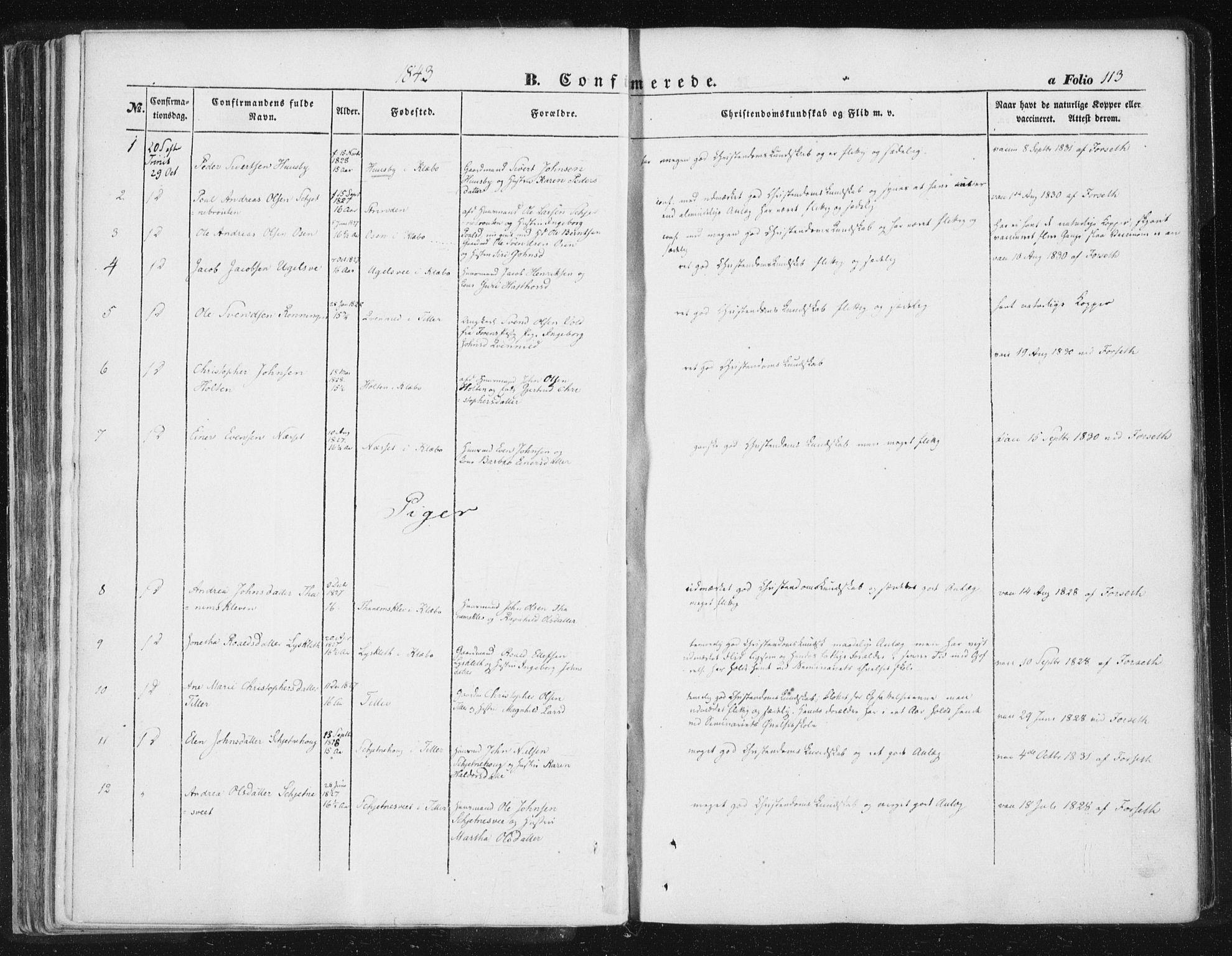 SAT, Ministerialprotokoller, klokkerbøker og fødselsregistre - Sør-Trøndelag, 618/L0441: Parish register (official) no. 618A05, 1843-1862, p. 113