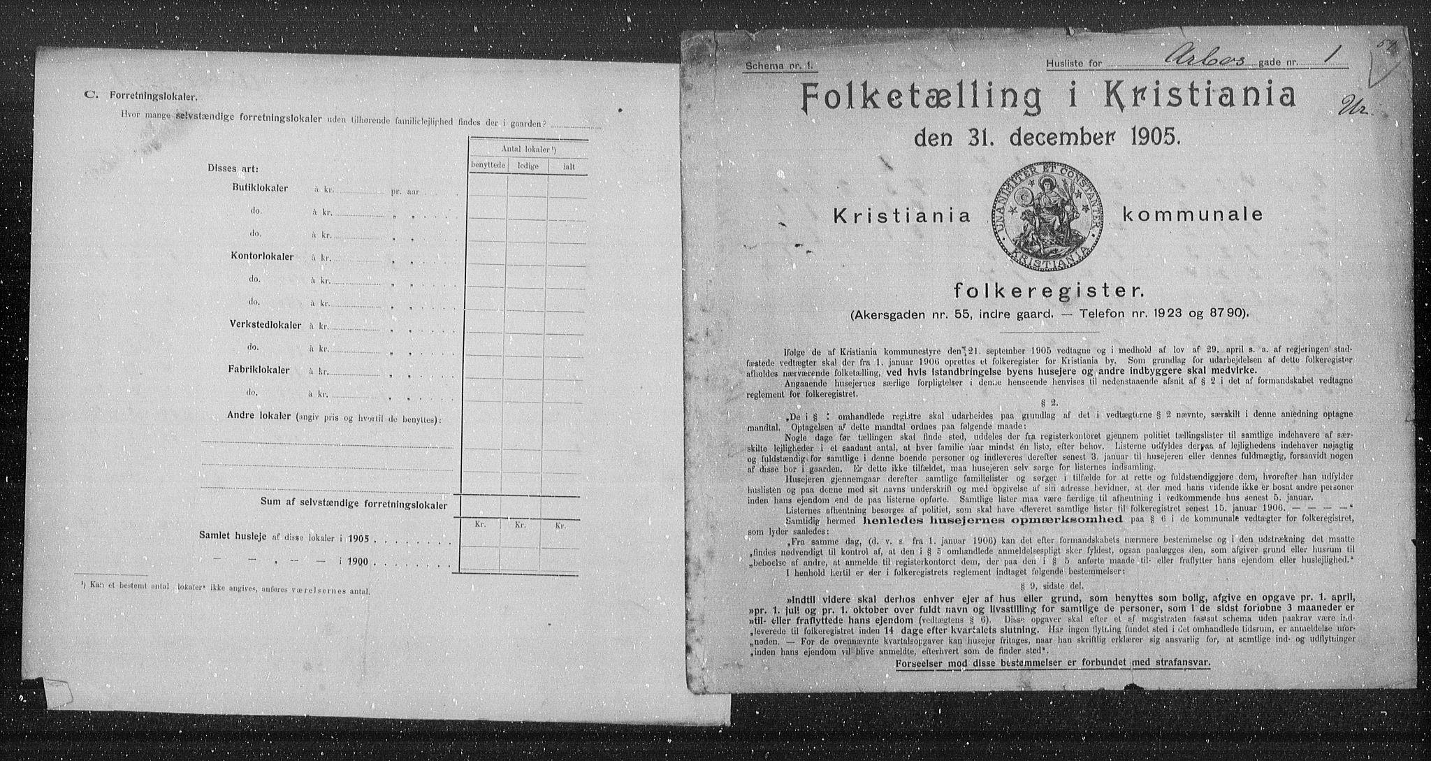 OBA, Municipal Census 1905 for Kristiania, 1905, p. 907