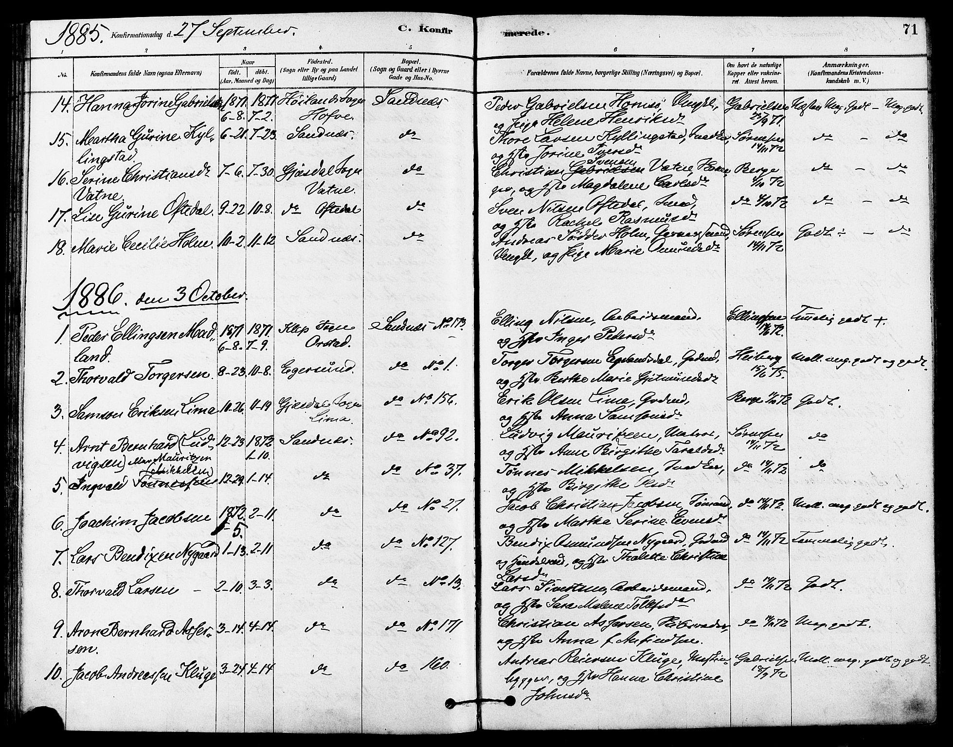 SAST, Høyland sokneprestkontor, 30BA/L0012: Parish register (official) no. A 11, 1878-1889, p. 71