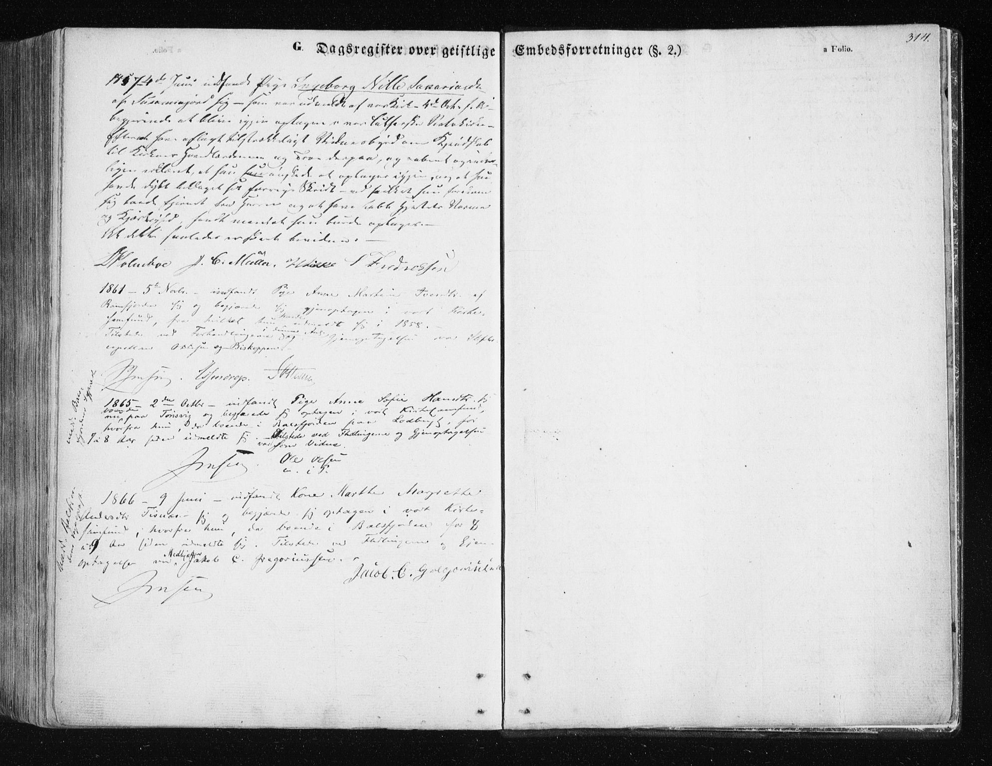 SATØ, Tromsøysund sokneprestkontor, G/Ga/L0001kirke: Parish register (official) no. 1, 1856-1867, p. 314
