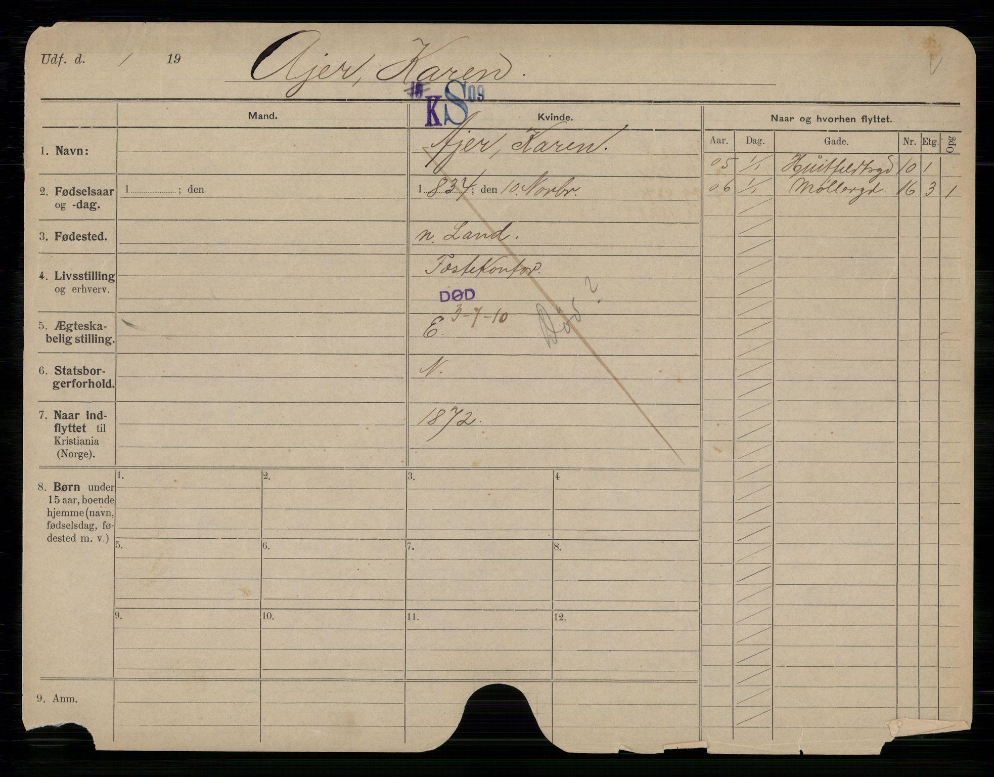SAO, Oslo folkeregister, Registerkort, G/Gb/L0010: Kvinner, 1910