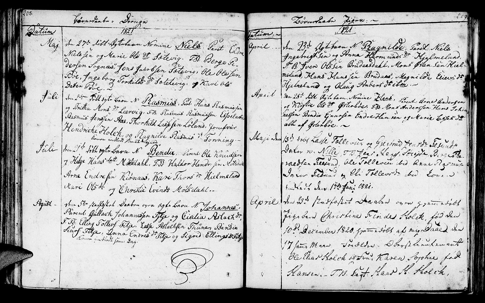 SAB, Lavik sokneprestembete, Parish register (official) no. A 1, 1809-1822, p. 208-209