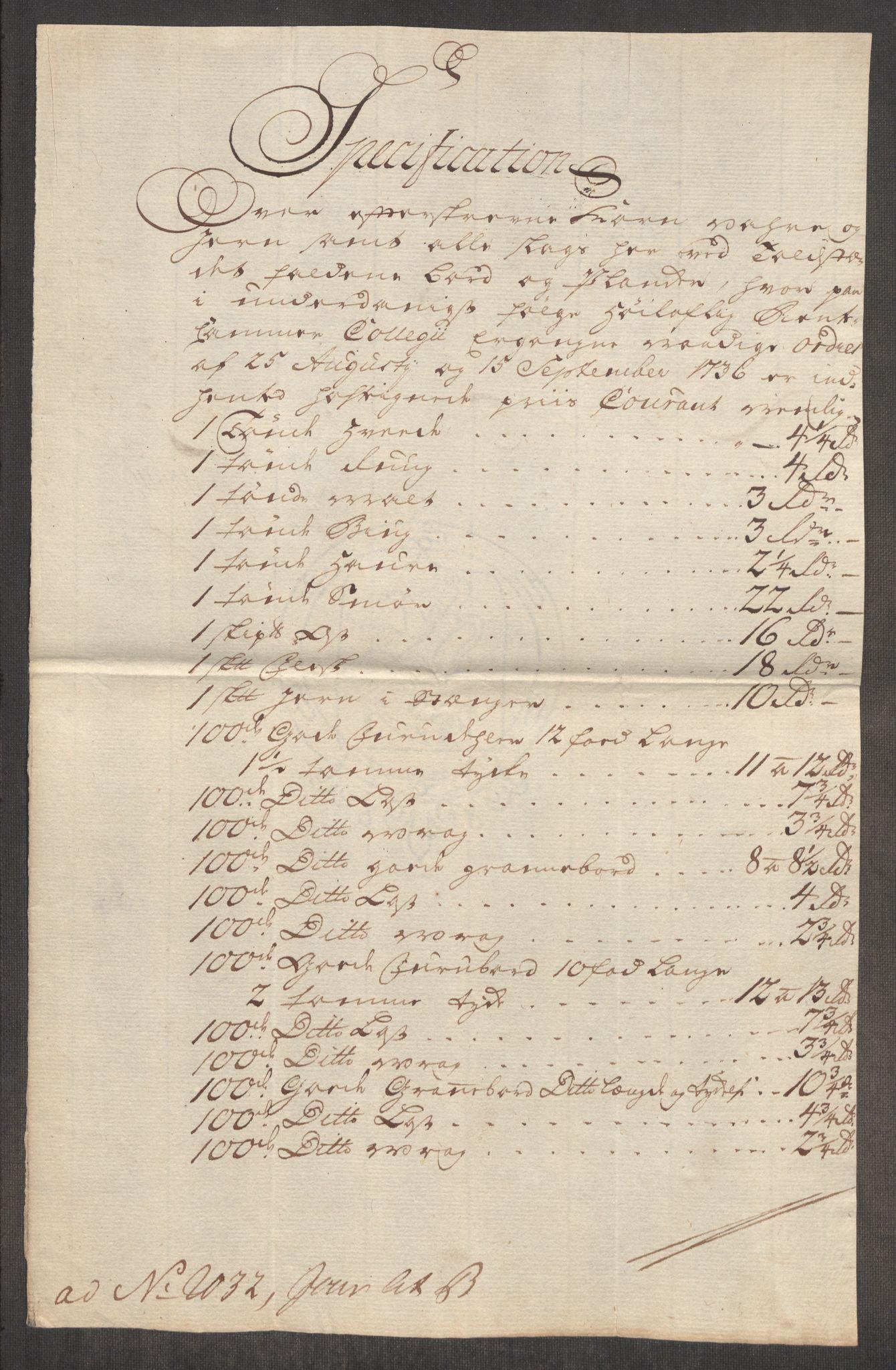 RA, Rentekammeret inntil 1814, Realistisk ordnet avdeling, Oe/L0004: [Ø1]: Priskuranter, 1749-1752, p. 48