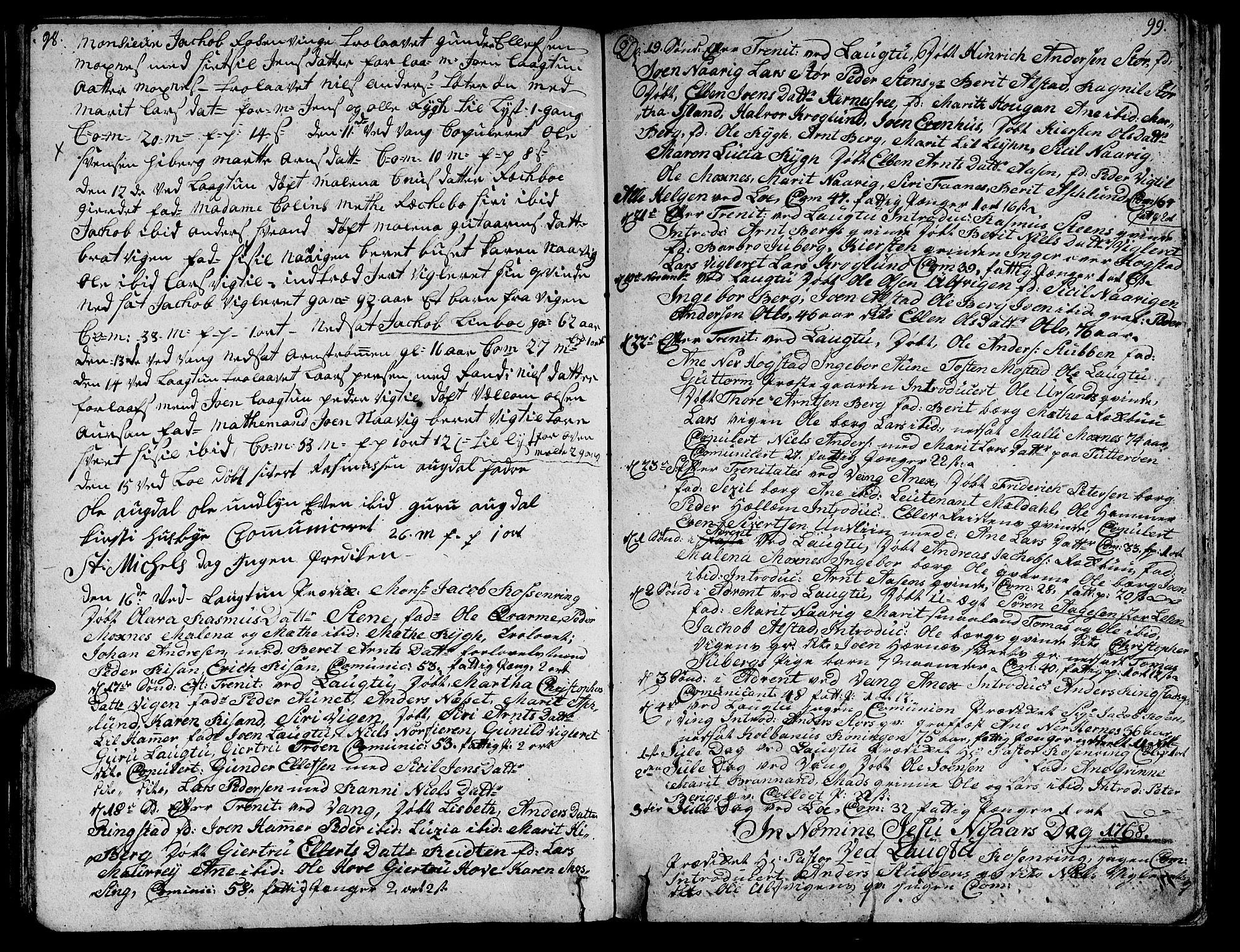 SAT, Ministerialprotokoller, klokkerbøker og fødselsregistre - Nord-Trøndelag, 713/L0109: Parish register (official) no. 713A01, 1750-1778, p. 98-99