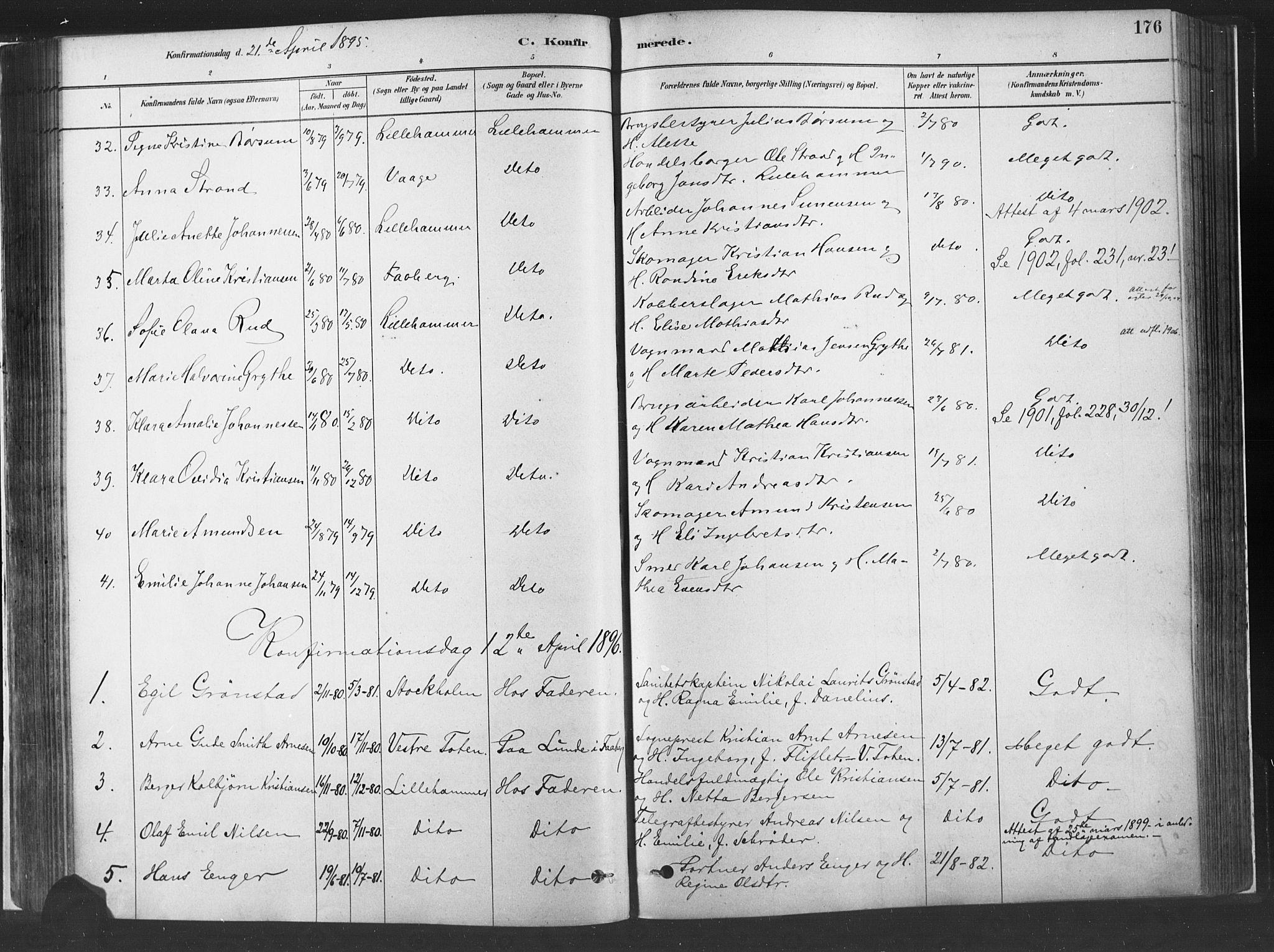 SAH, Fåberg prestekontor, H/Ha/Haa/L0010: Parish register (official) no. 10, 1879-1900, p. 176