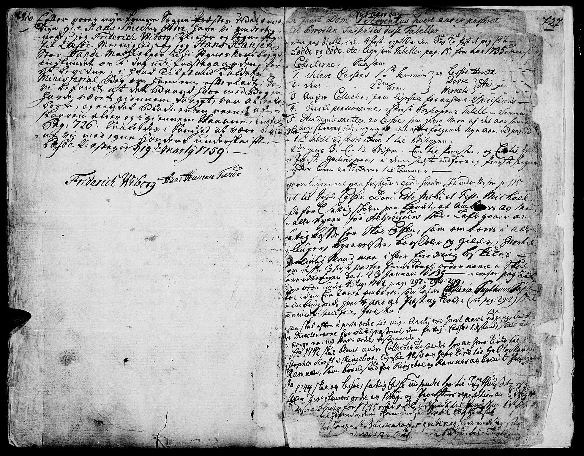SAH, Lesja prestekontor, Parish register (official) no. 2, 1732-1776, p. 726-727