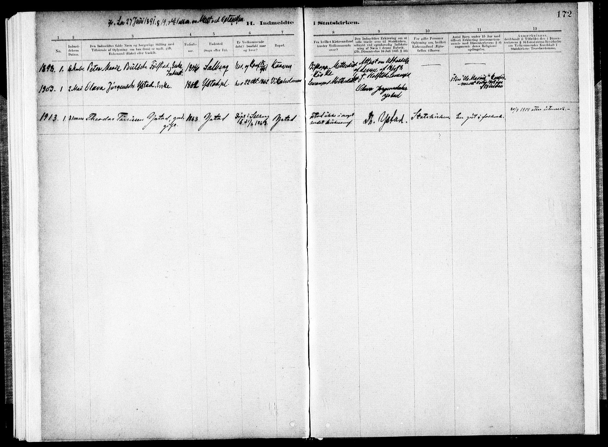 SAT, Ministerialprotokoller, klokkerbøker og fødselsregistre - Nord-Trøndelag, 731/L0309: Parish register (official) no. 731A01, 1879-1918, p. 172