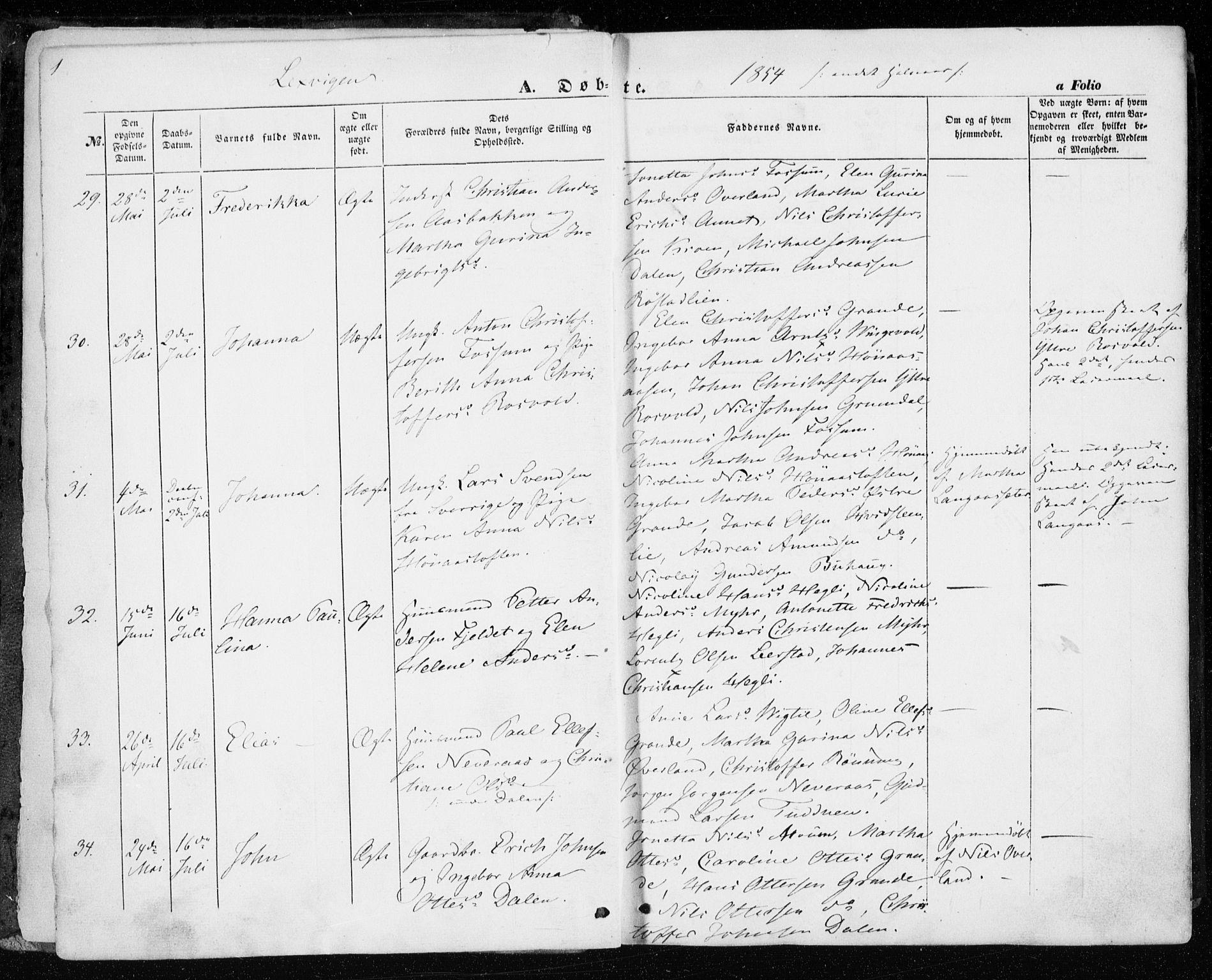 SAT, Ministerialprotokoller, klokkerbøker og fødselsregistre - Nord-Trøndelag, 701/L0008: Parish register (official) no. 701A08 /1, 1854-1863, p. 1