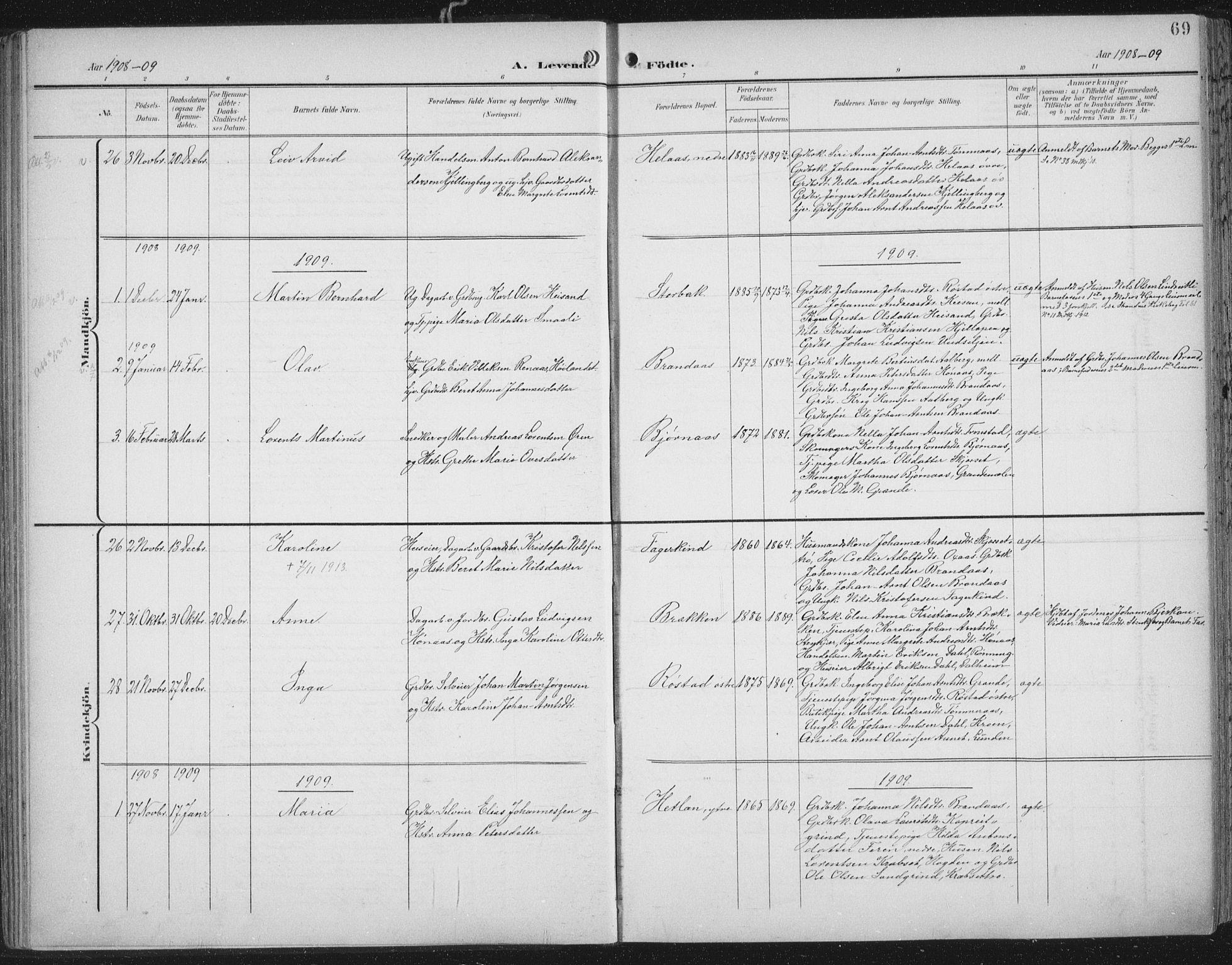 SAT, Ministerialprotokoller, klokkerbøker og fødselsregistre - Nord-Trøndelag, 701/L0011: Parish register (official) no. 701A11, 1899-1915, p. 69