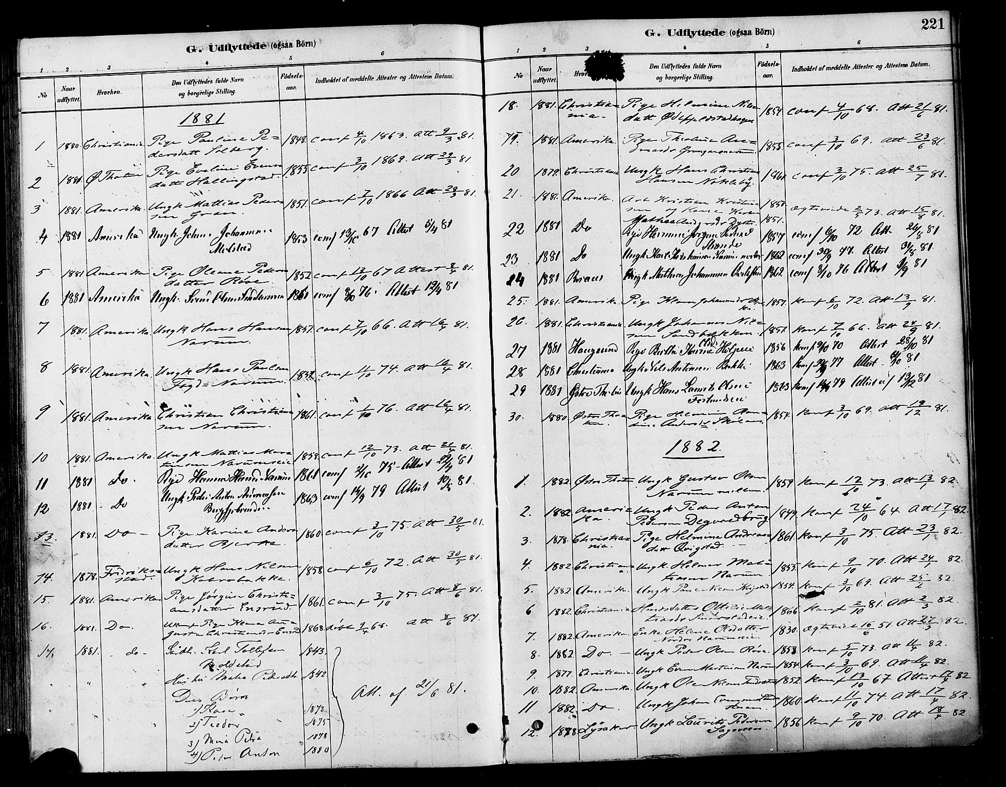 SAH, Vestre Toten prestekontor, H/Ha/Haa/L0010: Parish register (official) no. 10, 1878-1894, p. 221