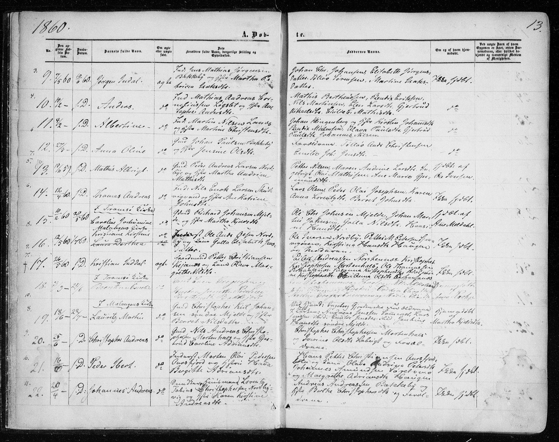 SATØ, Balsfjord sokneprestembete, G/Ga/L0001kirke: Parish register (official) no. 1, 1858-1870, p. 13