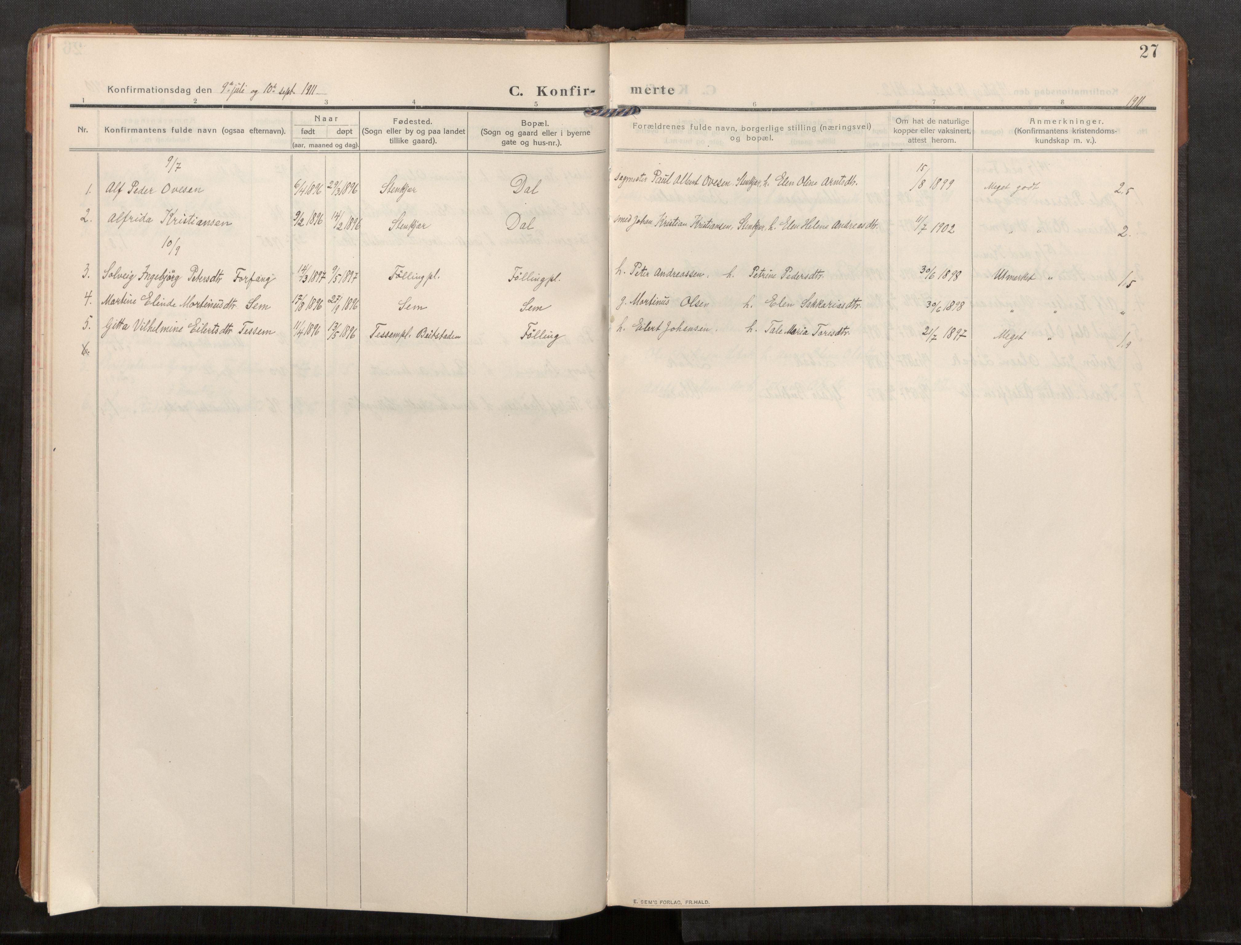 SAT, Stod sokneprestkontor, I/I1/I1a/L0003: Parish register (official) no. 3, 1909-1934, p. 27