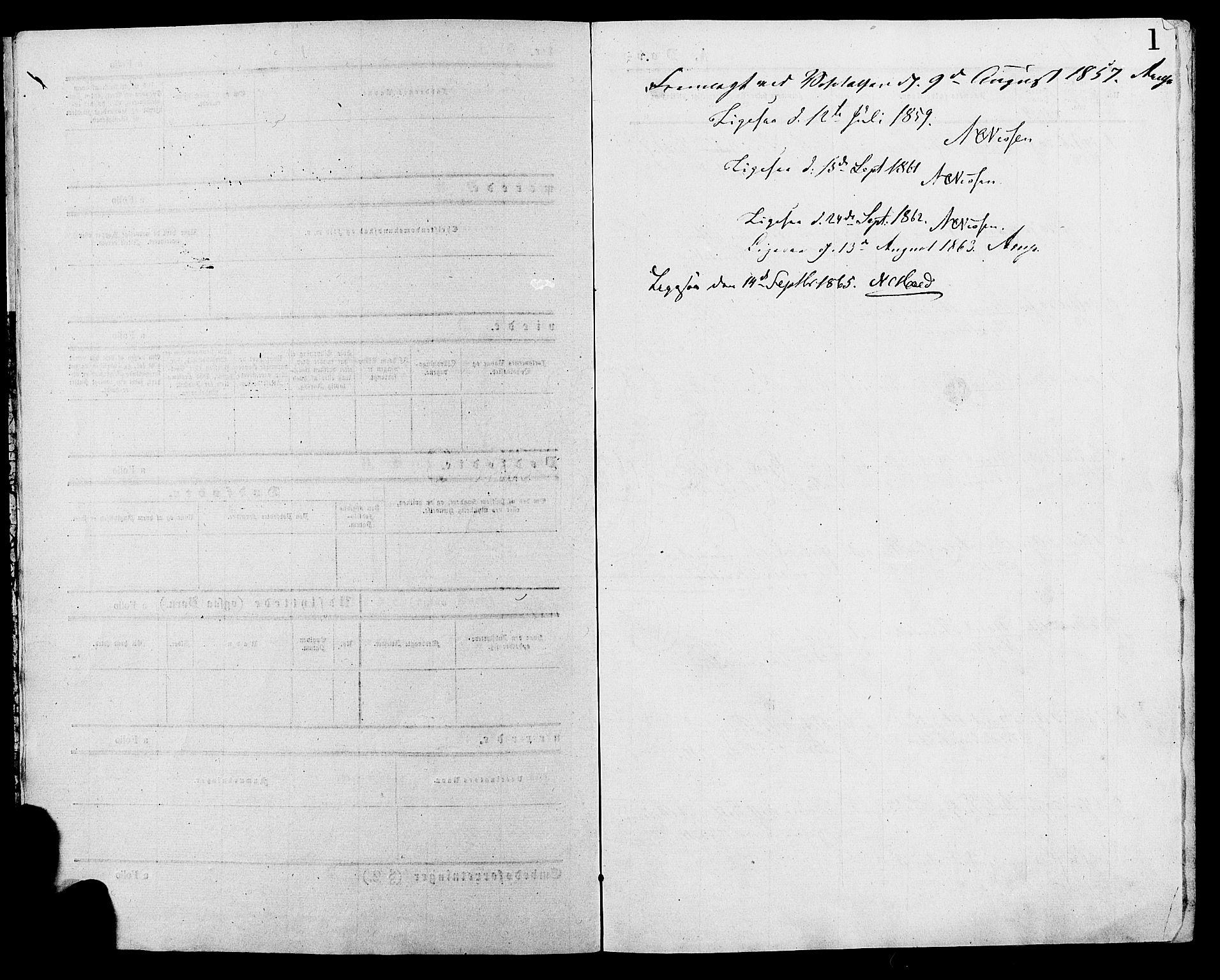 SAH, Lesja prestekontor, Parish register (official) no. 9, 1854-1889, p. 1