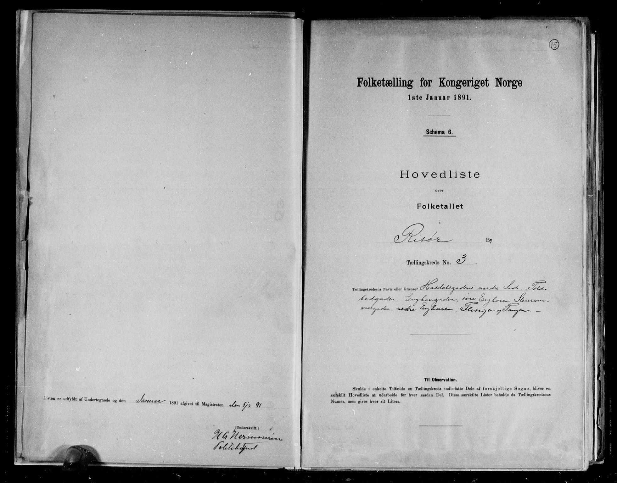 RA, 1891 census for 0901 Risør, 1891, p. 15