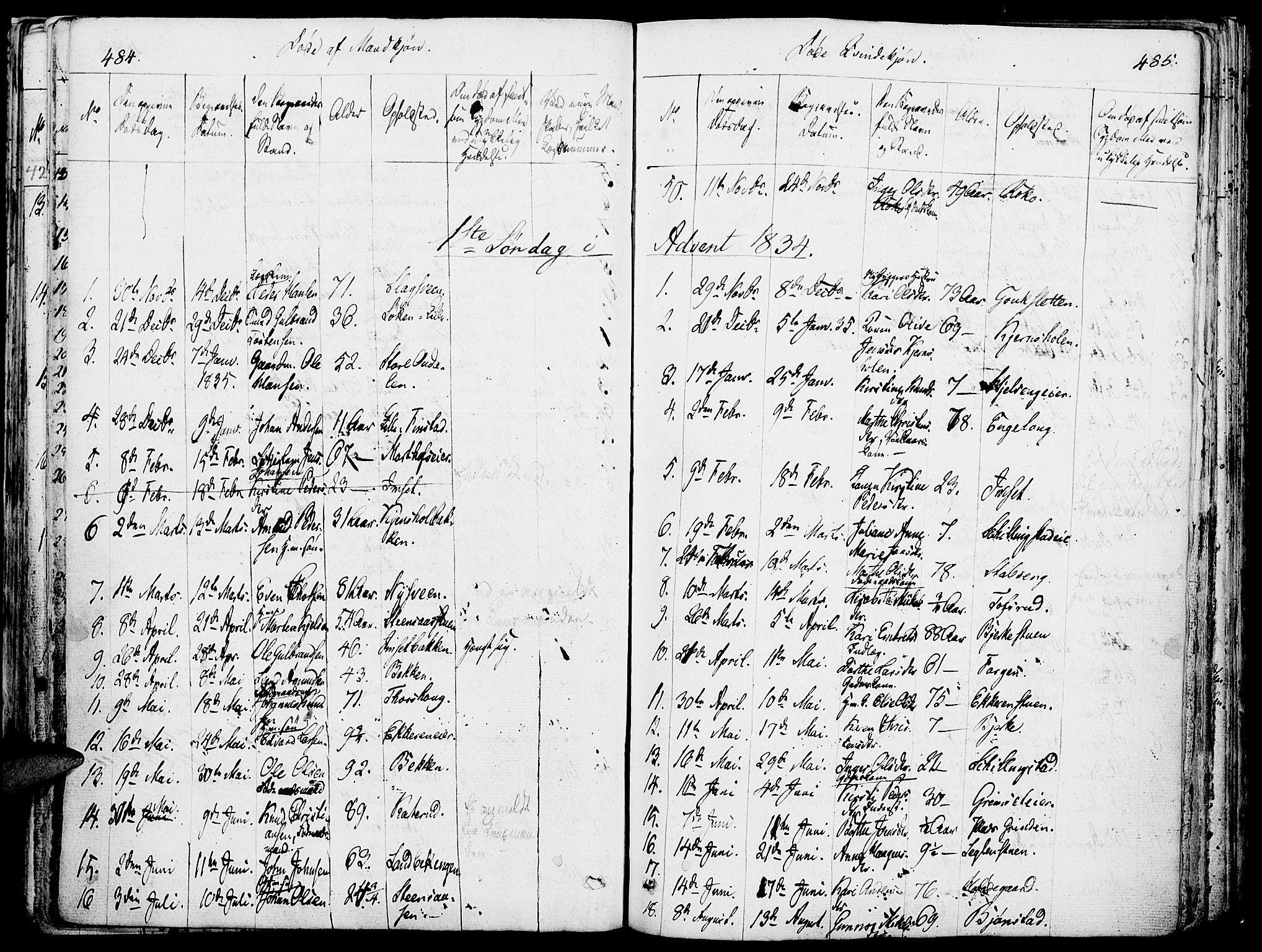 SAH, Løten prestekontor, K/Ka/L0006: Parish register (official) no. 6, 1832-1849, p. 484-485