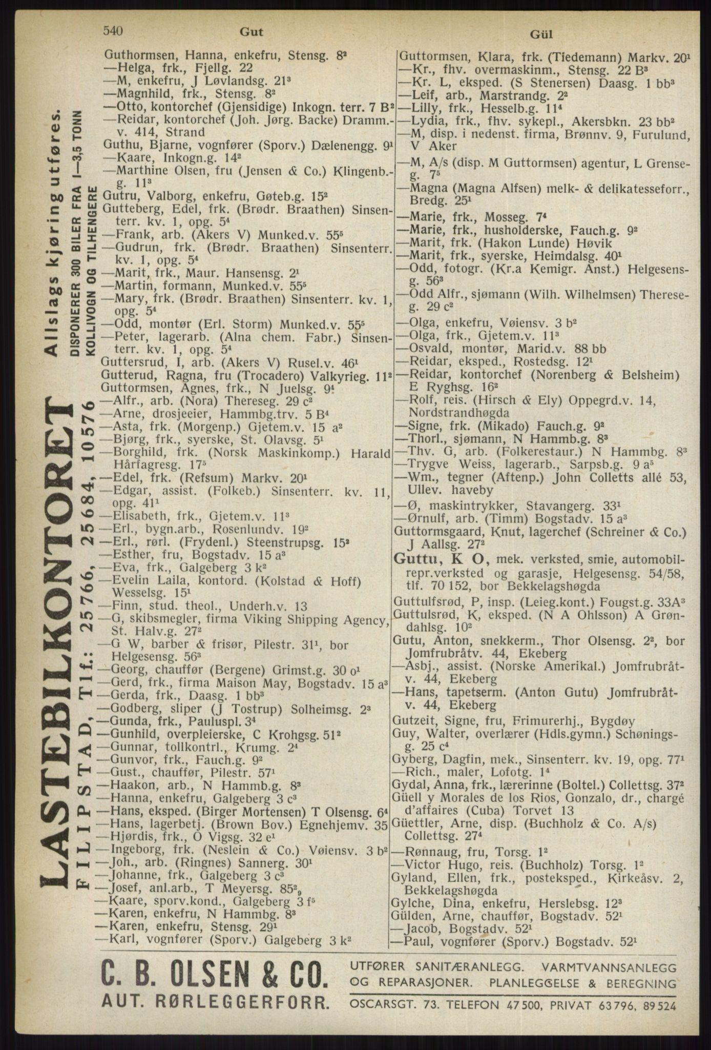 PUBL, Kristiania/Oslo adressebok, 1937, p. 540