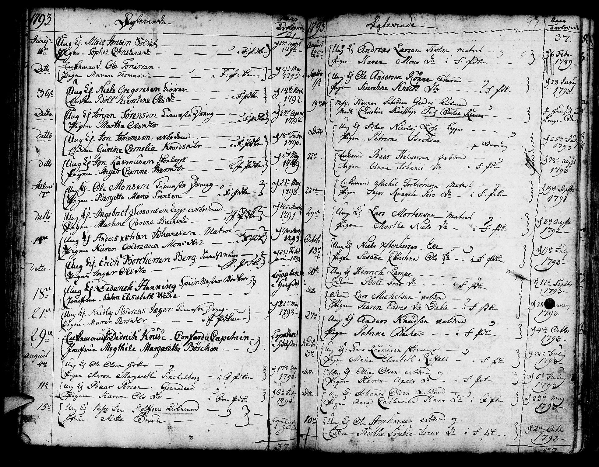 SAB, Korskirken Sokneprestembete, H/Haa/L0009: Parish register (official) no. A 9, 1743-1861, p. 97