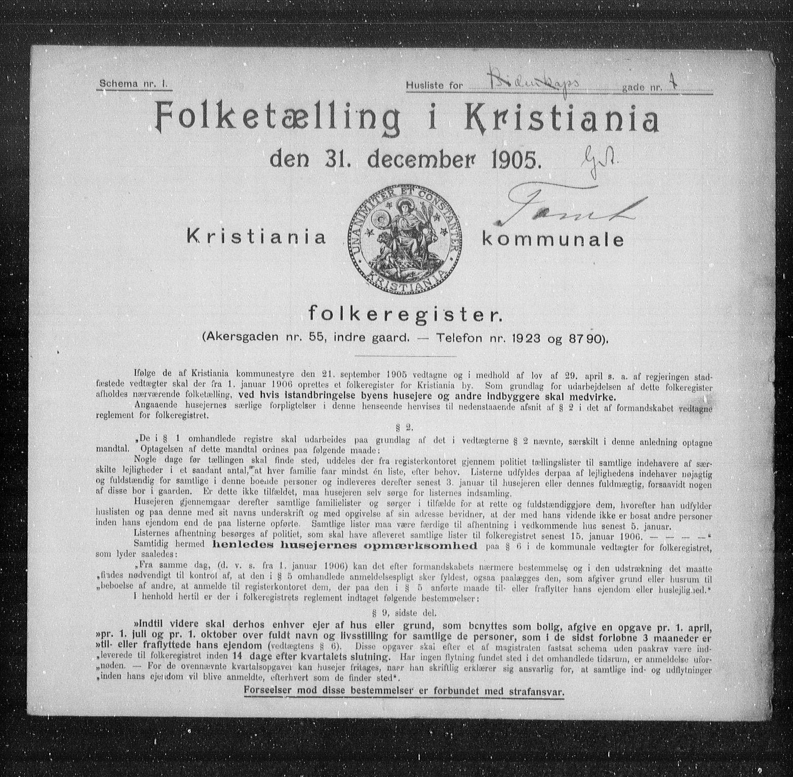 OBA, Municipal Census 1905 for Kristiania, 1905, p. 2296