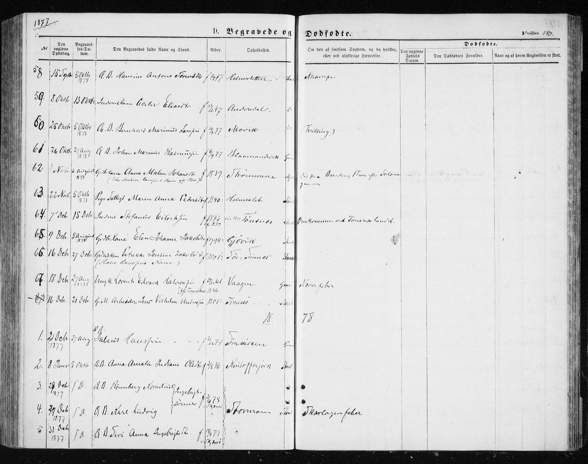 SATØ, Tromsøysund sokneprestkontor, G/Ga/L0003kirke: Parish register (official) no. 3, 1875-1880, p. 180