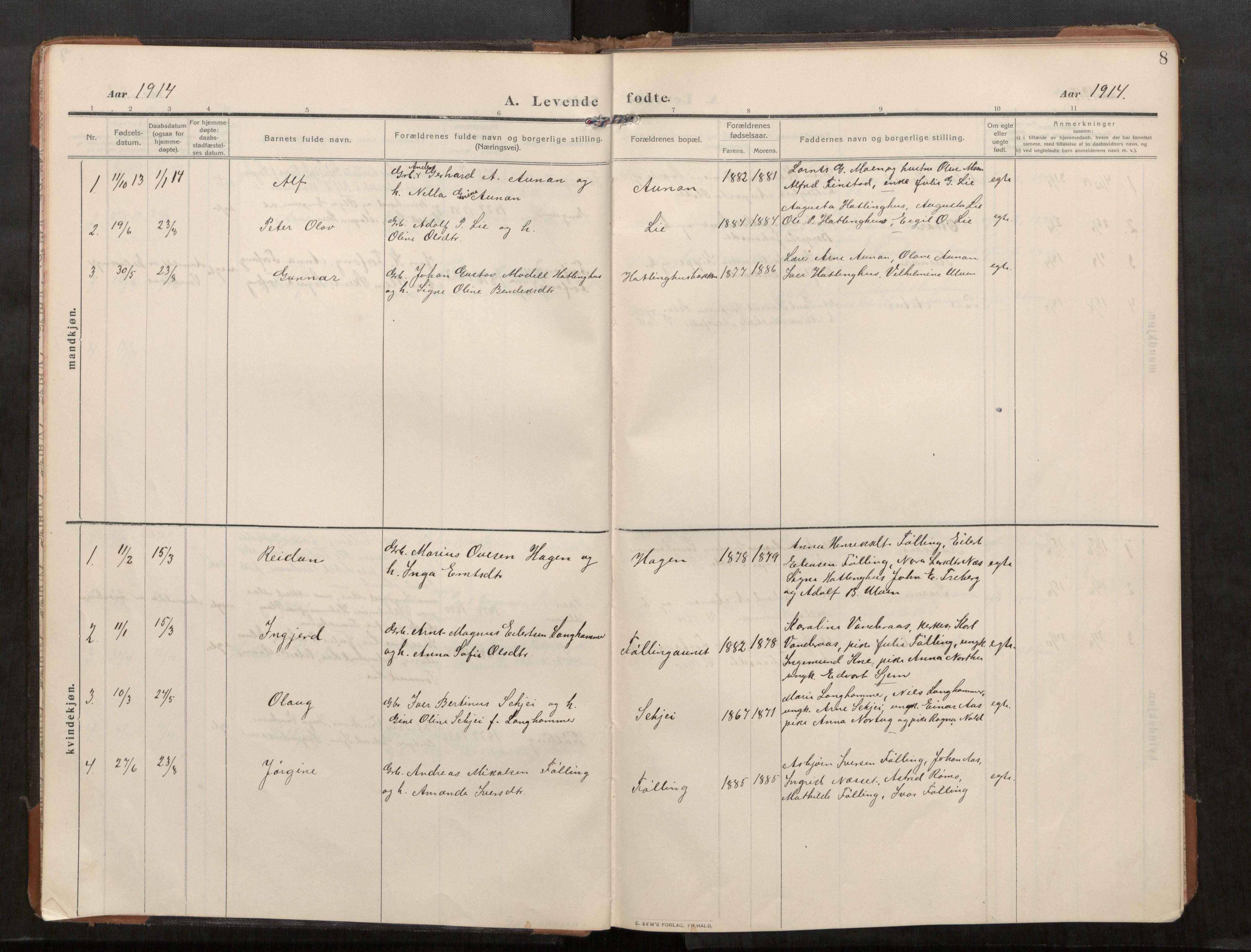 SAT, Stod sokneprestkontor, I/I1/I1a/L0003: Parish register (official) no. 3, 1909-1934, p. 8
