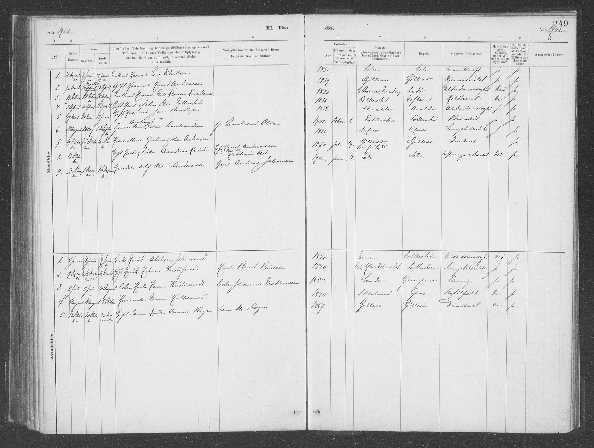 SAB, Askvoll Sokneprestembete, Parish register (official) no. C  1, 1879-1922, p. 249