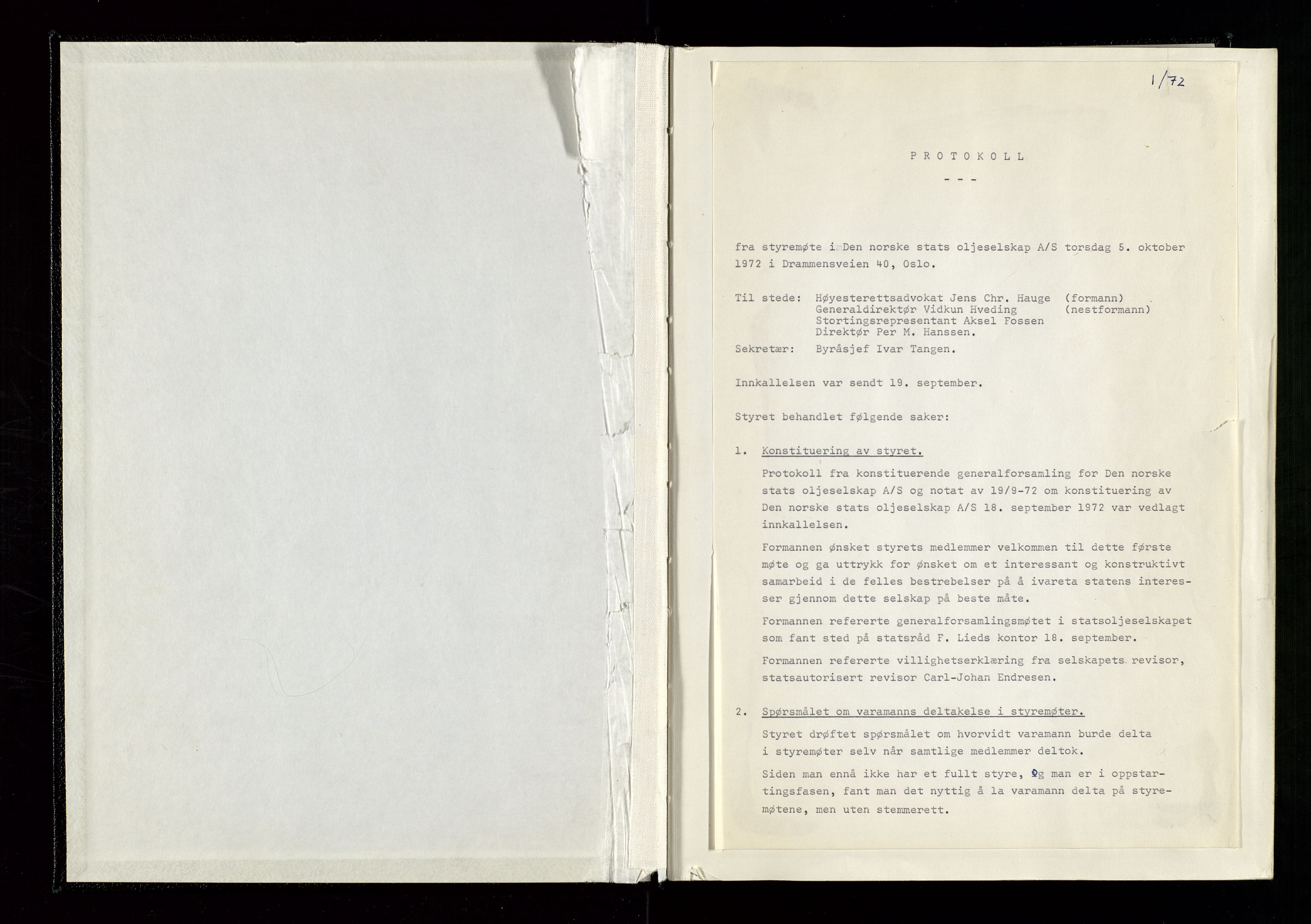 SAST, Pa 1339 - Statoil ASA, A/Ab/Aba/L0001: Styremøteprotokoller, 05.10.1972 til 14.12.1978, 1972-1978, p. 8