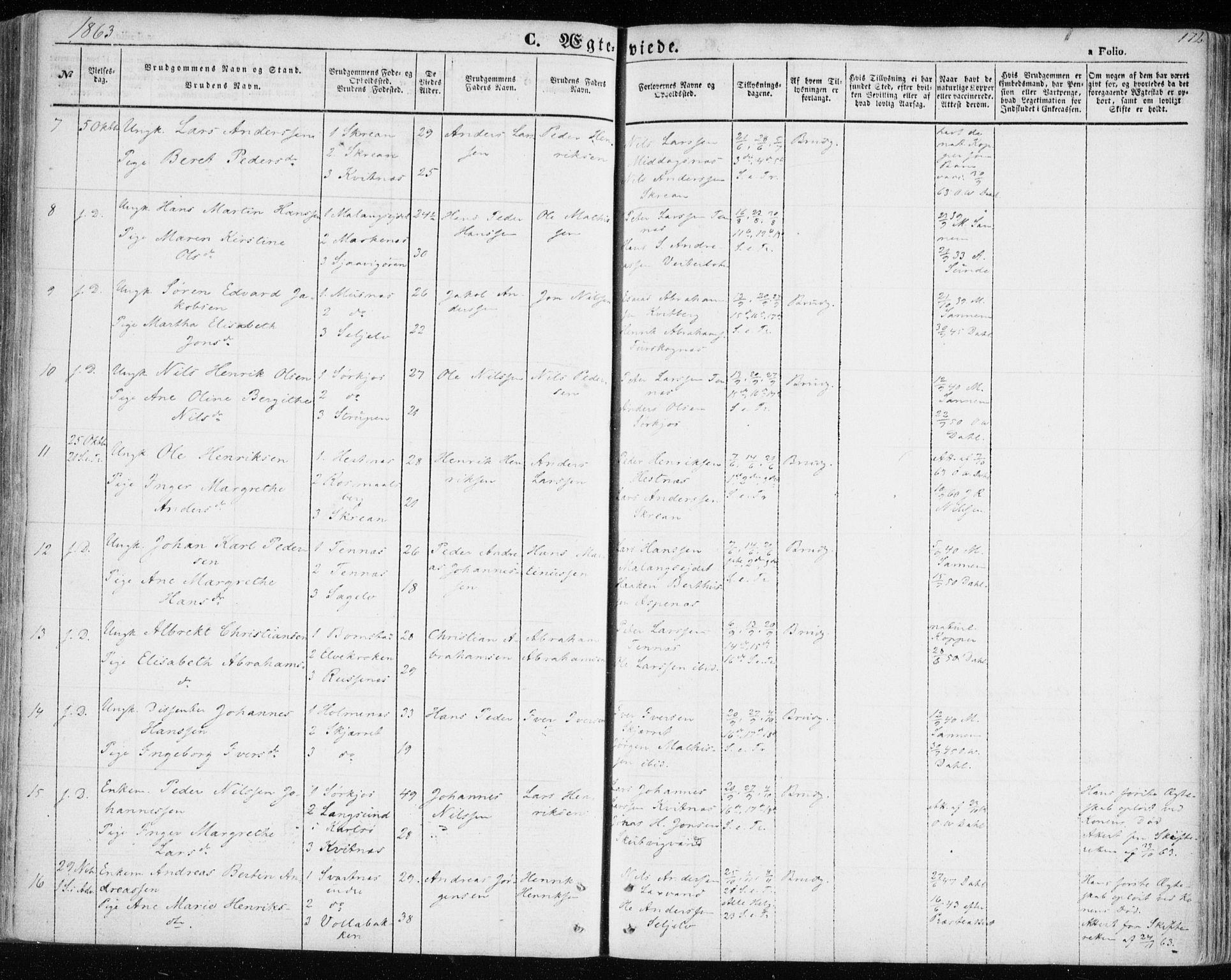SATØ, Balsfjord sokneprestembete, G/Ga/L0003kirke: Parish register (official) no. 3, 1856-1870, p. 172