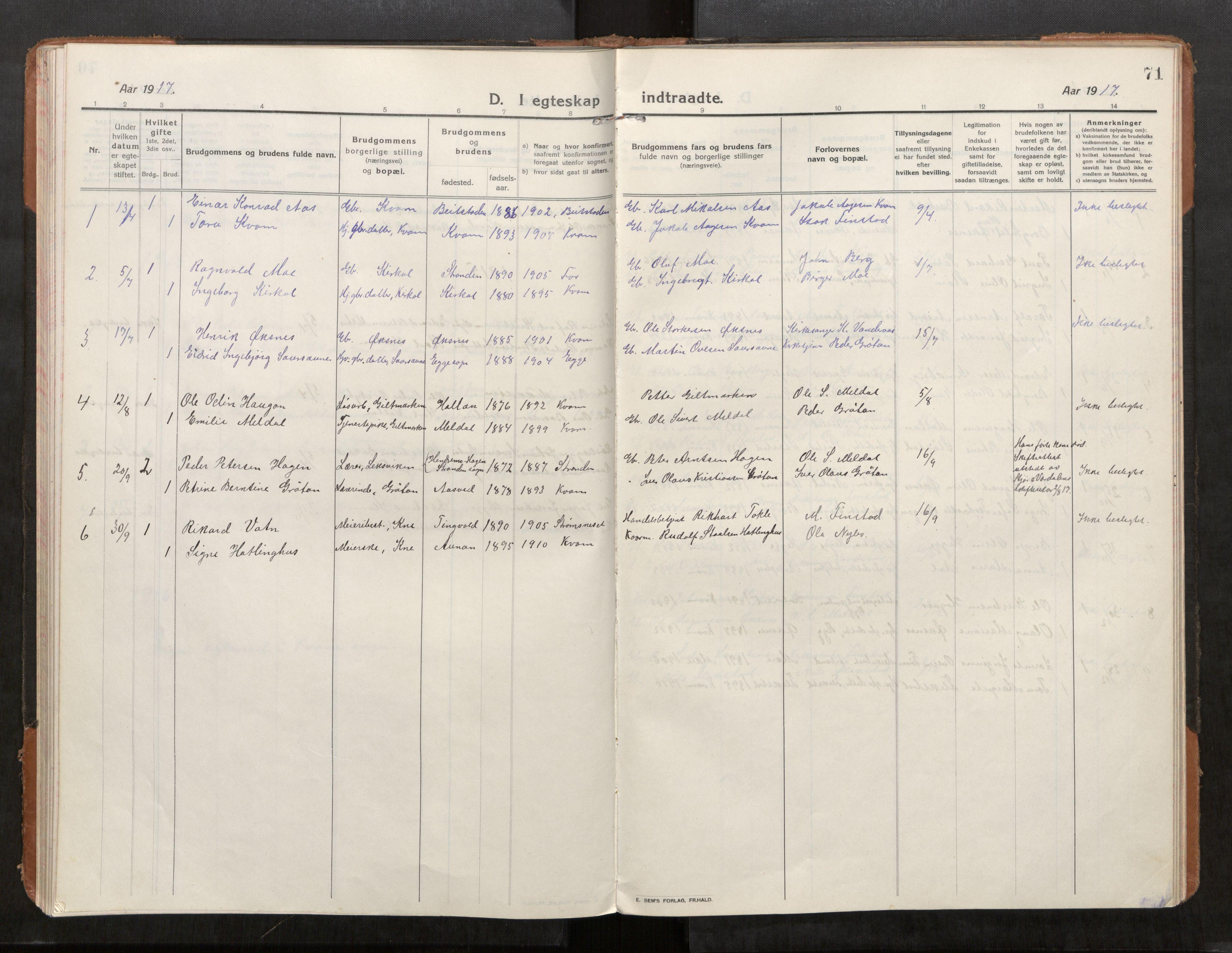 SAT, Stod sokneprestkontor, I/I1/I1a/L0004: Parish register (official) no. 4, 1913-1933, p. 71