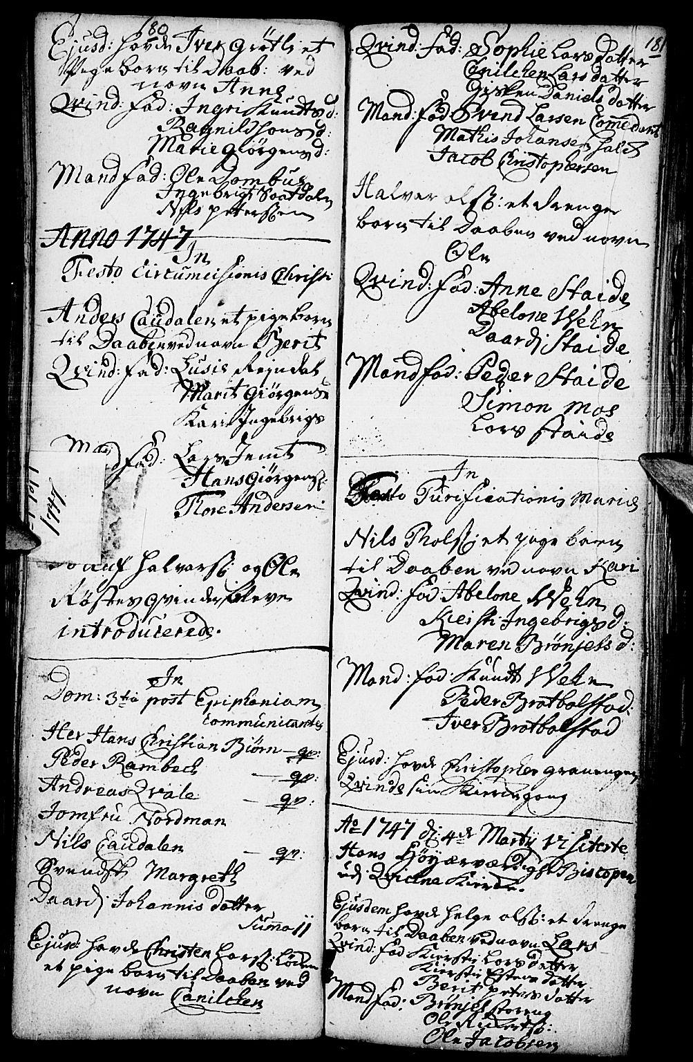 SAH, Kvikne prestekontor, Parish register (official) no. 1, 1740-1756, p. 180-181