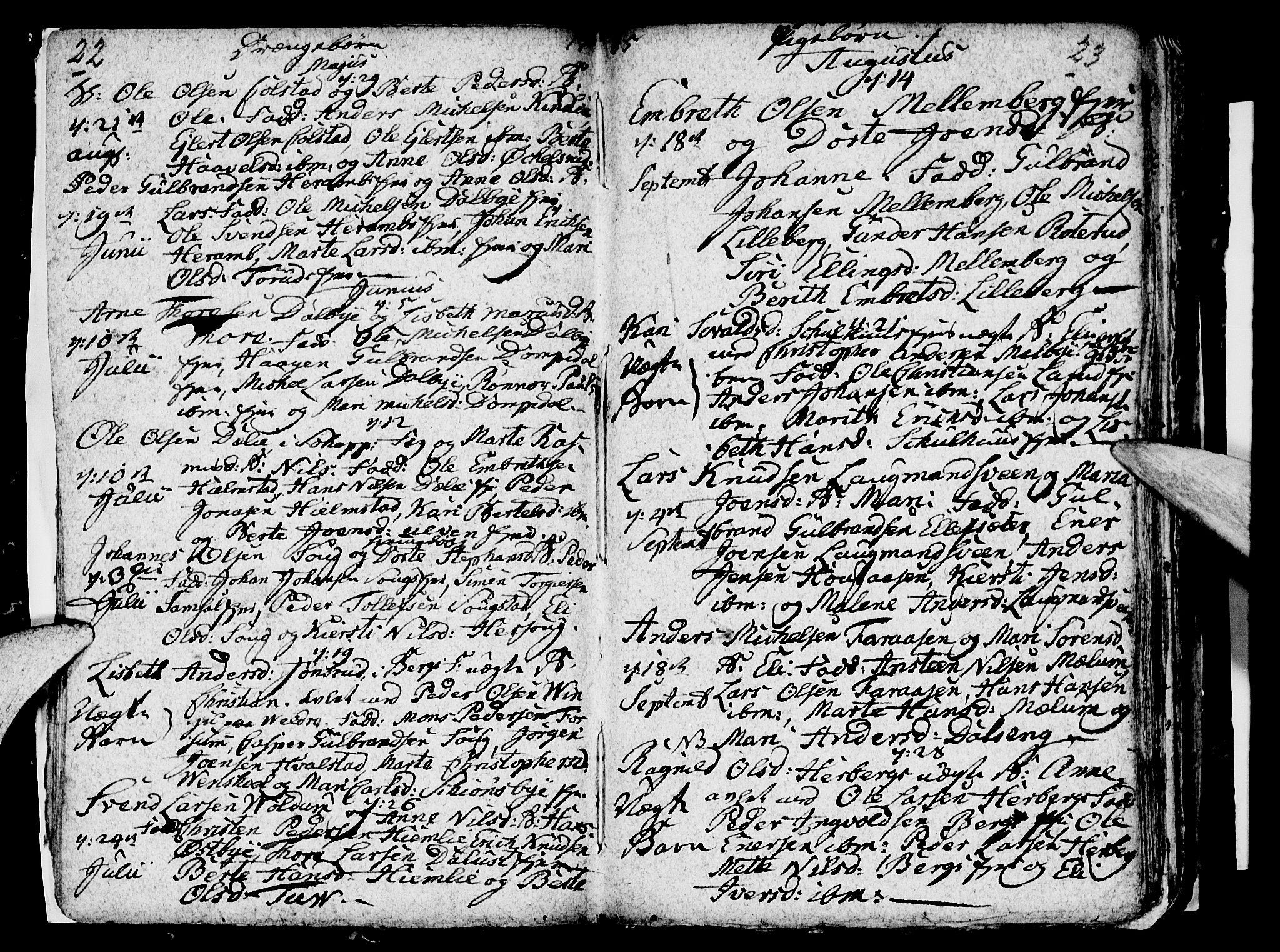 SAH, Ringsaker prestekontor, I/Ia/L0005/0004: Parish register draft no. 1D, 1785-1789, p. 22-23
